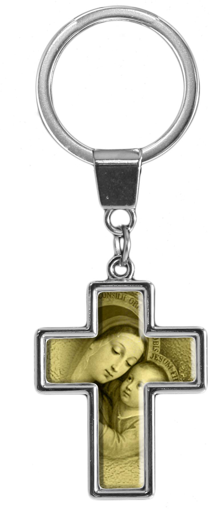 """metALUm Schlüsselanhänger in Kreuz - Form """"Maria mit Kind"""""""