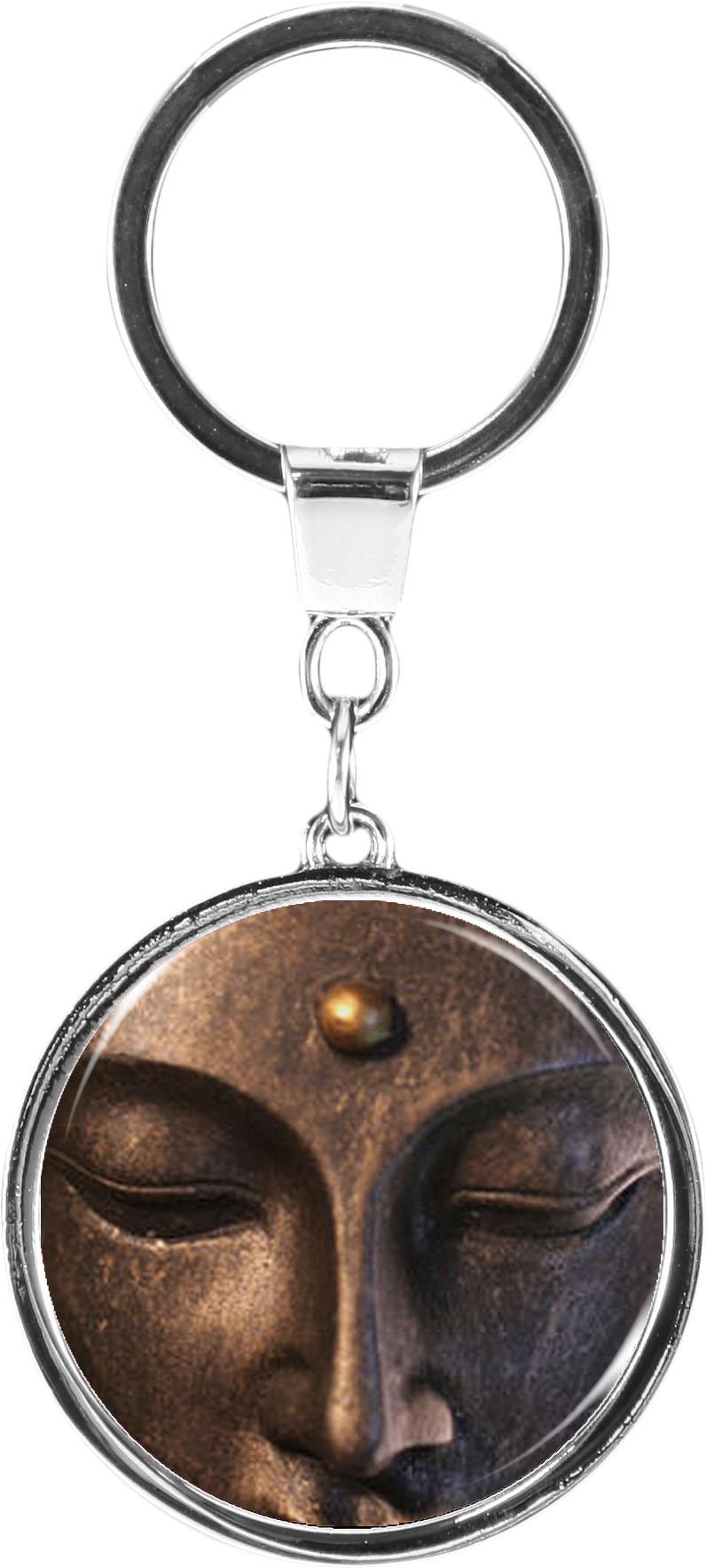"""metALUm Schlüsselanhänger in runder Form """"Buddha"""""""