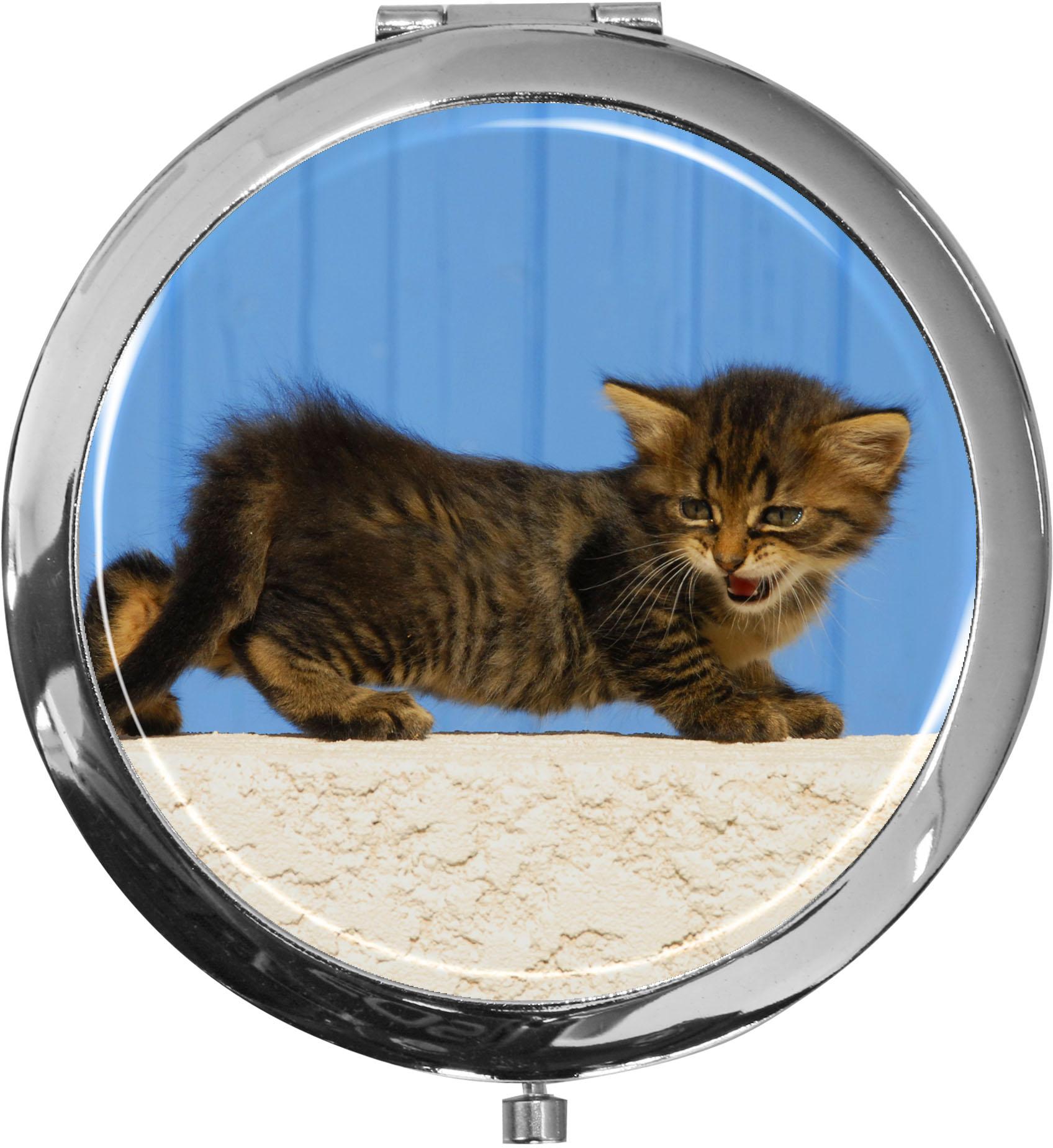 Taschenspiegel / Spiegel / Katze / 2 fache Vergrößerung