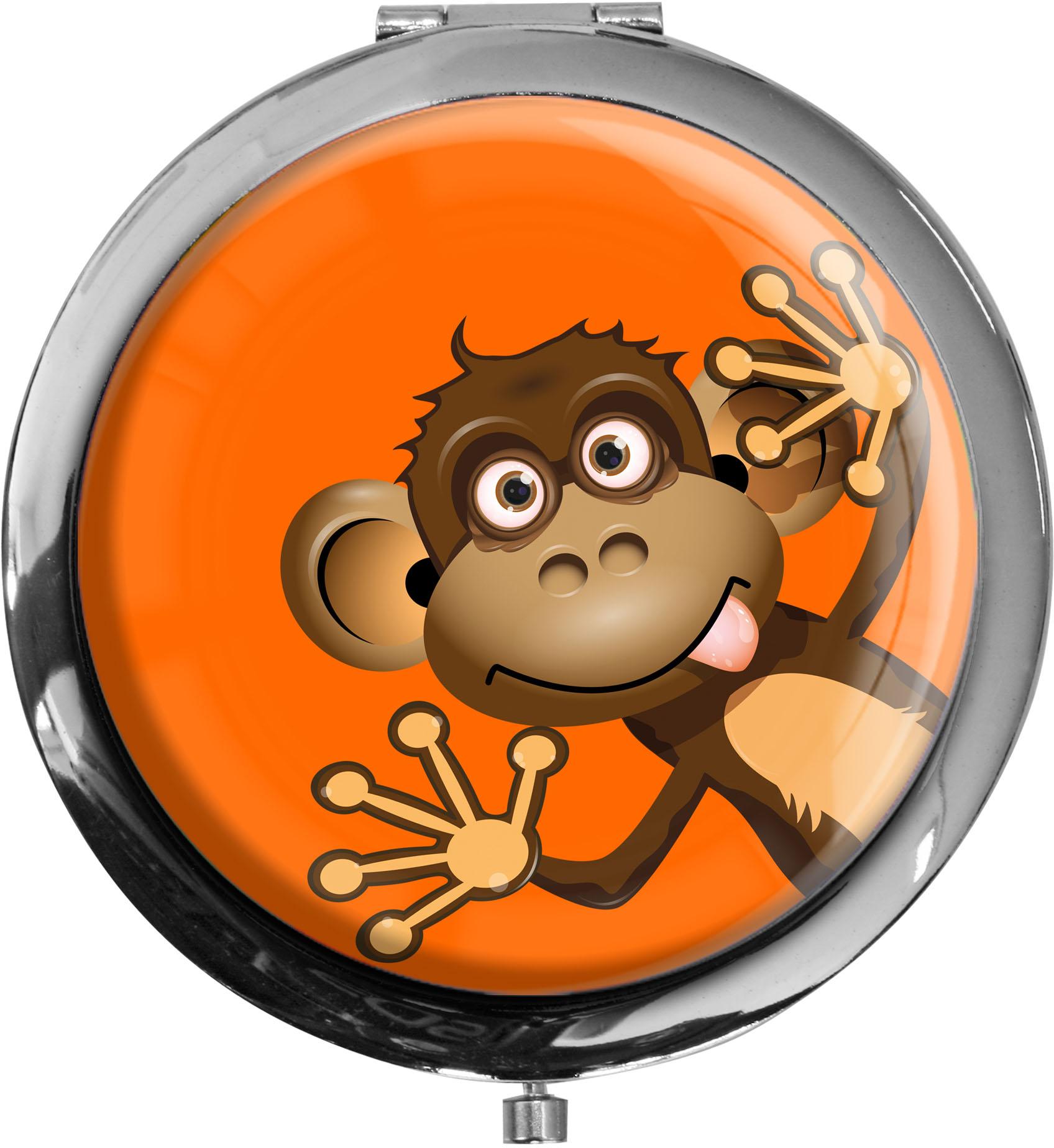 """metALUm Premium Taschenspiegel in runder Form """"Affe"""""""