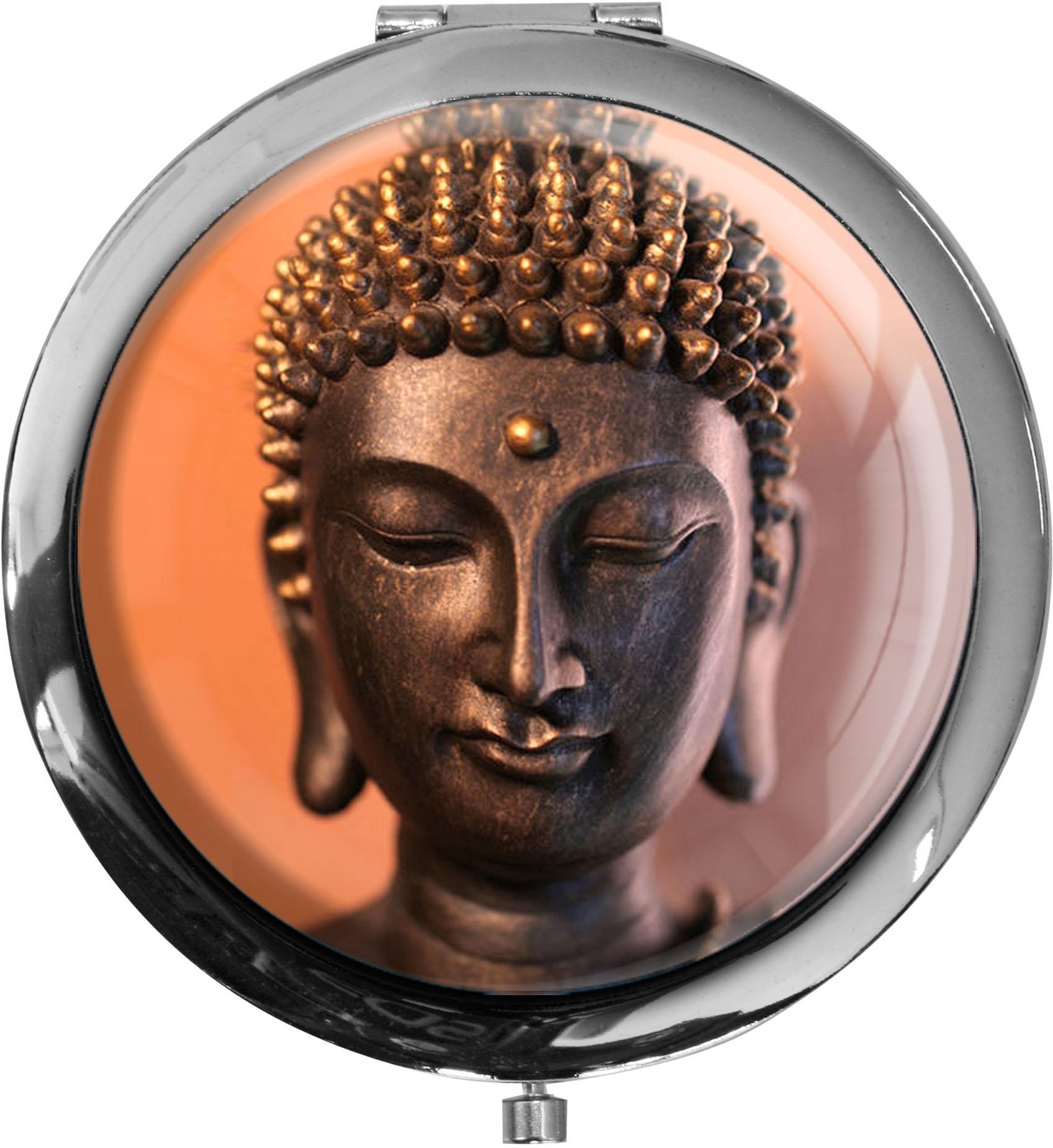 """metALUm Premium Taschenspiegel in runder Form """"Buddah"""""""