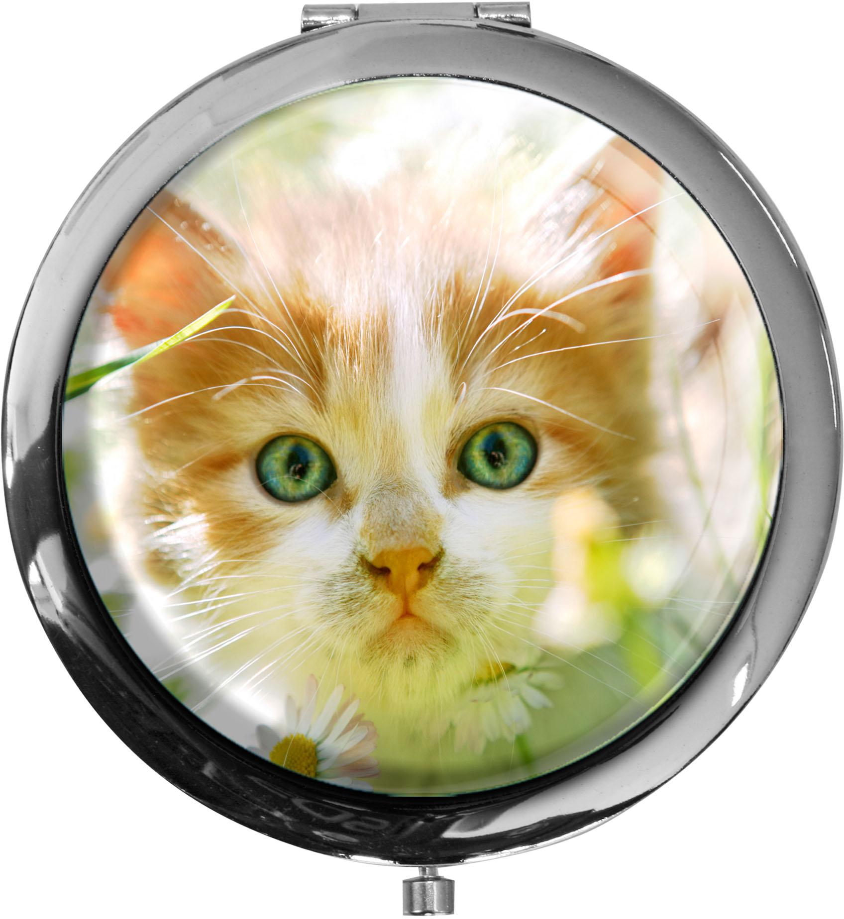 """metALUm Premium Taschenspiegel in runder Form """"Katze"""""""
