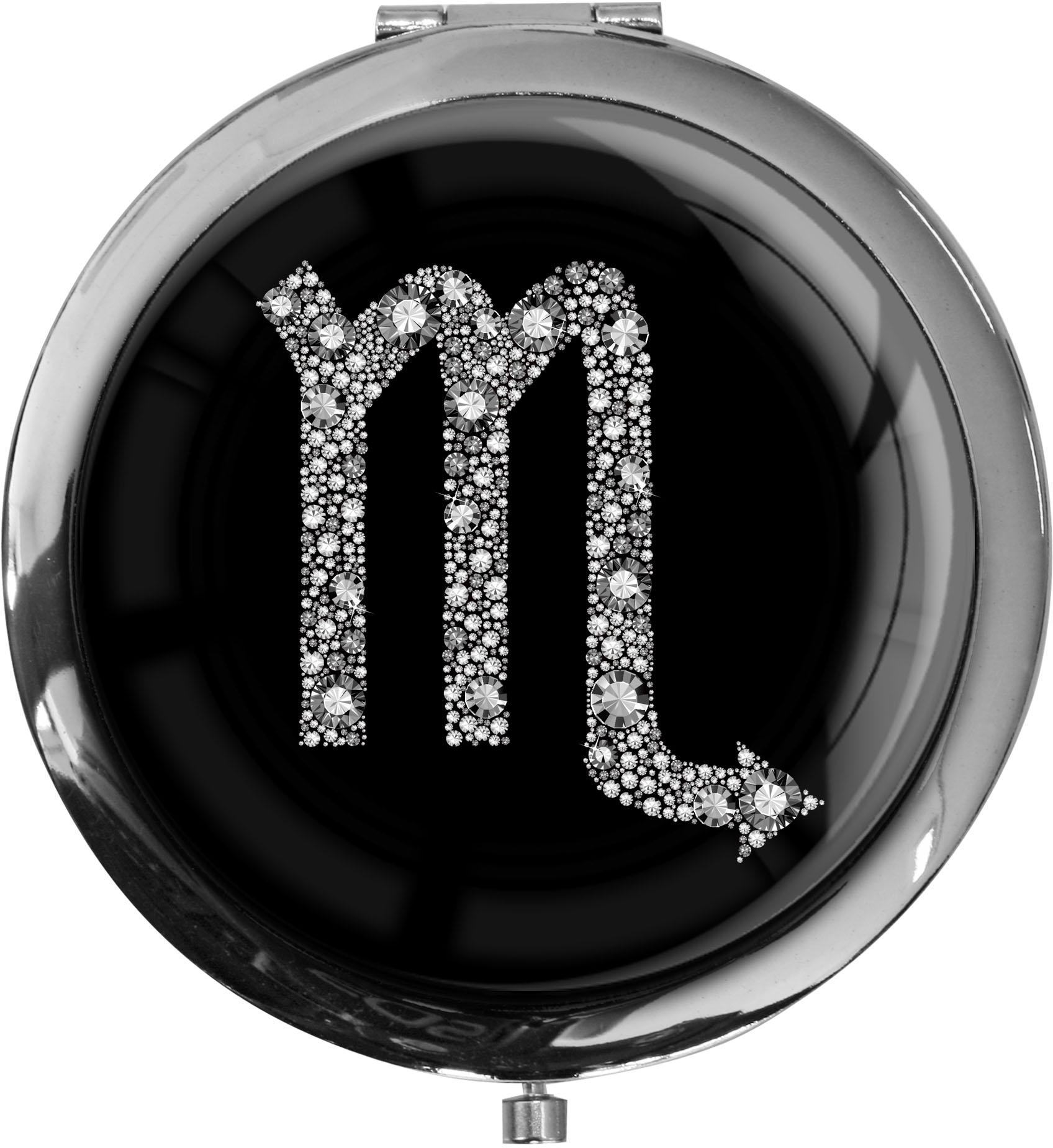"""metALUm Premium Taschenspiegel in runder Form """"Sternzeichen Skorpion in Silber"""""""