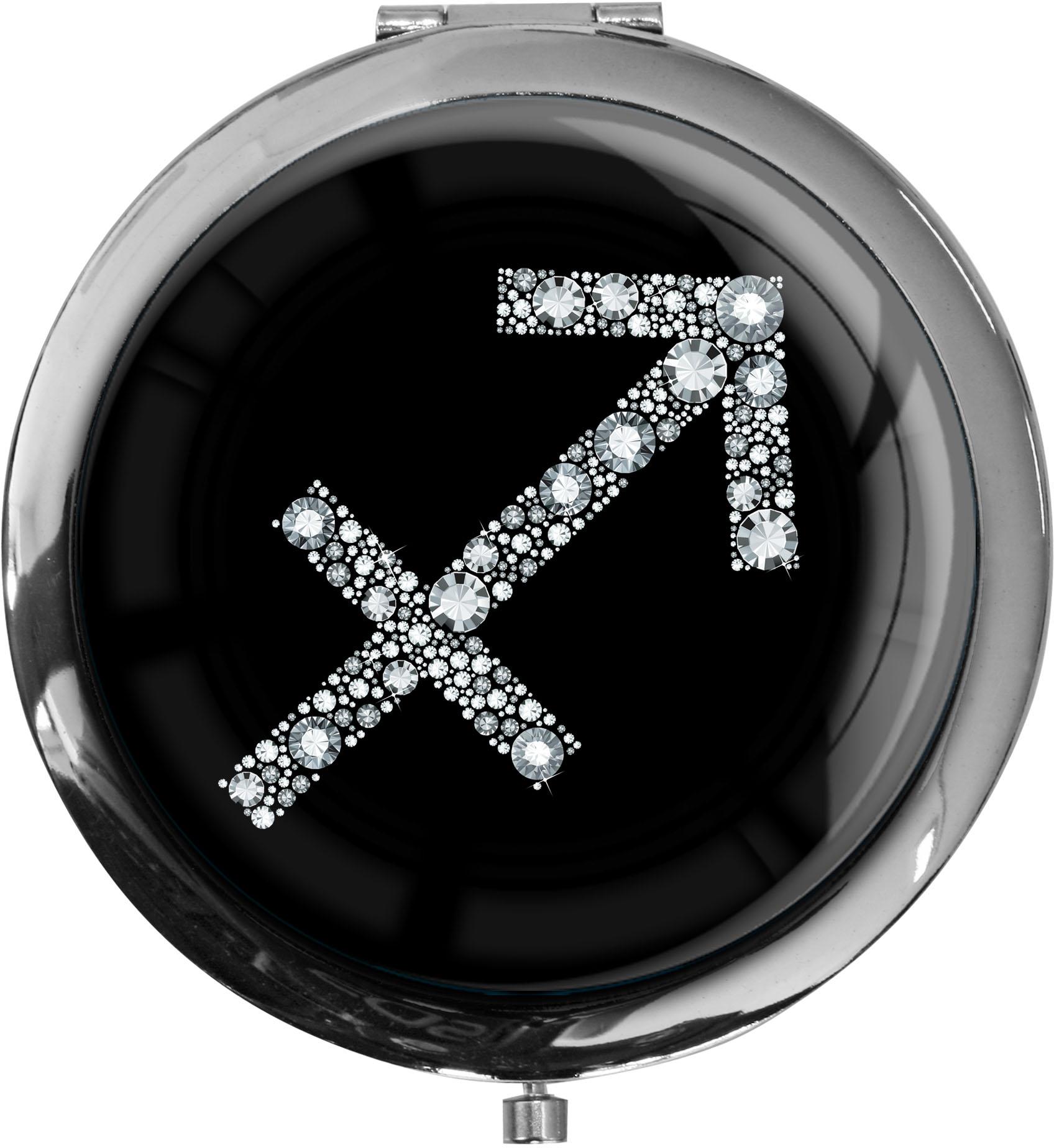 """metALUm Premium Taschenspiegel in runder Form """"Sternzeichen Schütze in Silber"""""""