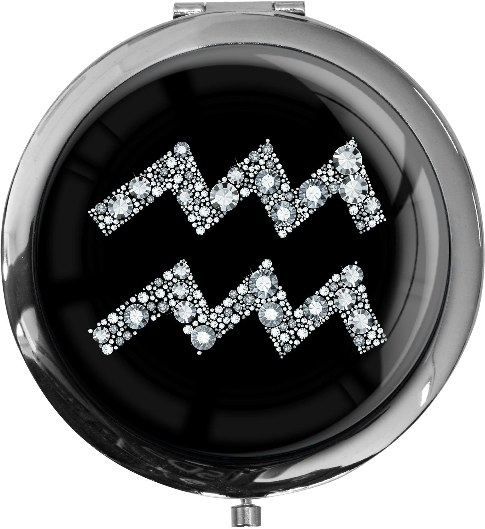 """metALUm Premium Taschenspiegel in runder Form """"Sternzeichen Wassermann in Silber"""""""