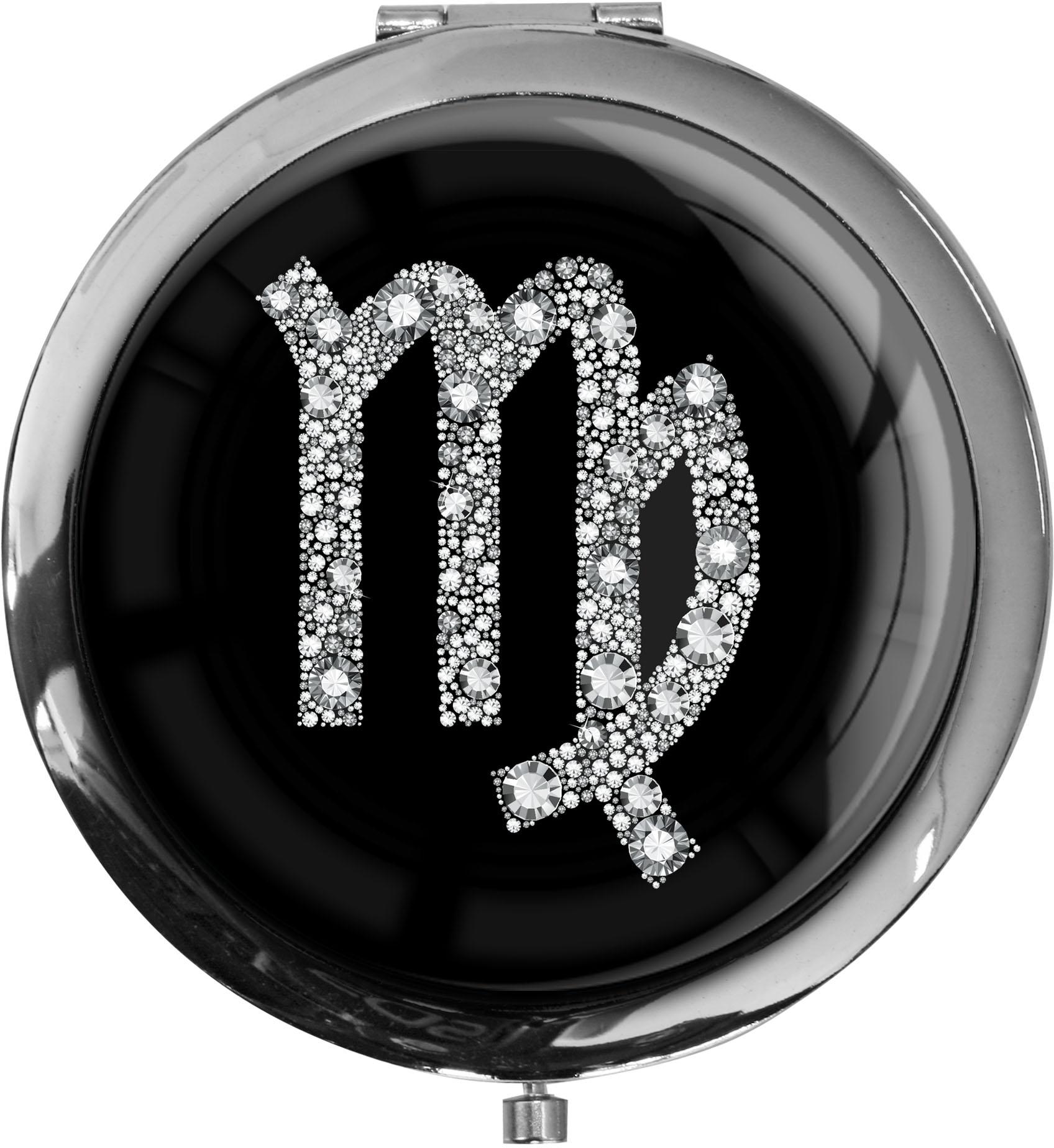 """metALUm Premium Taschenspiegel in runder Form """"Sternzeichen Jungfrau in Silber"""""""