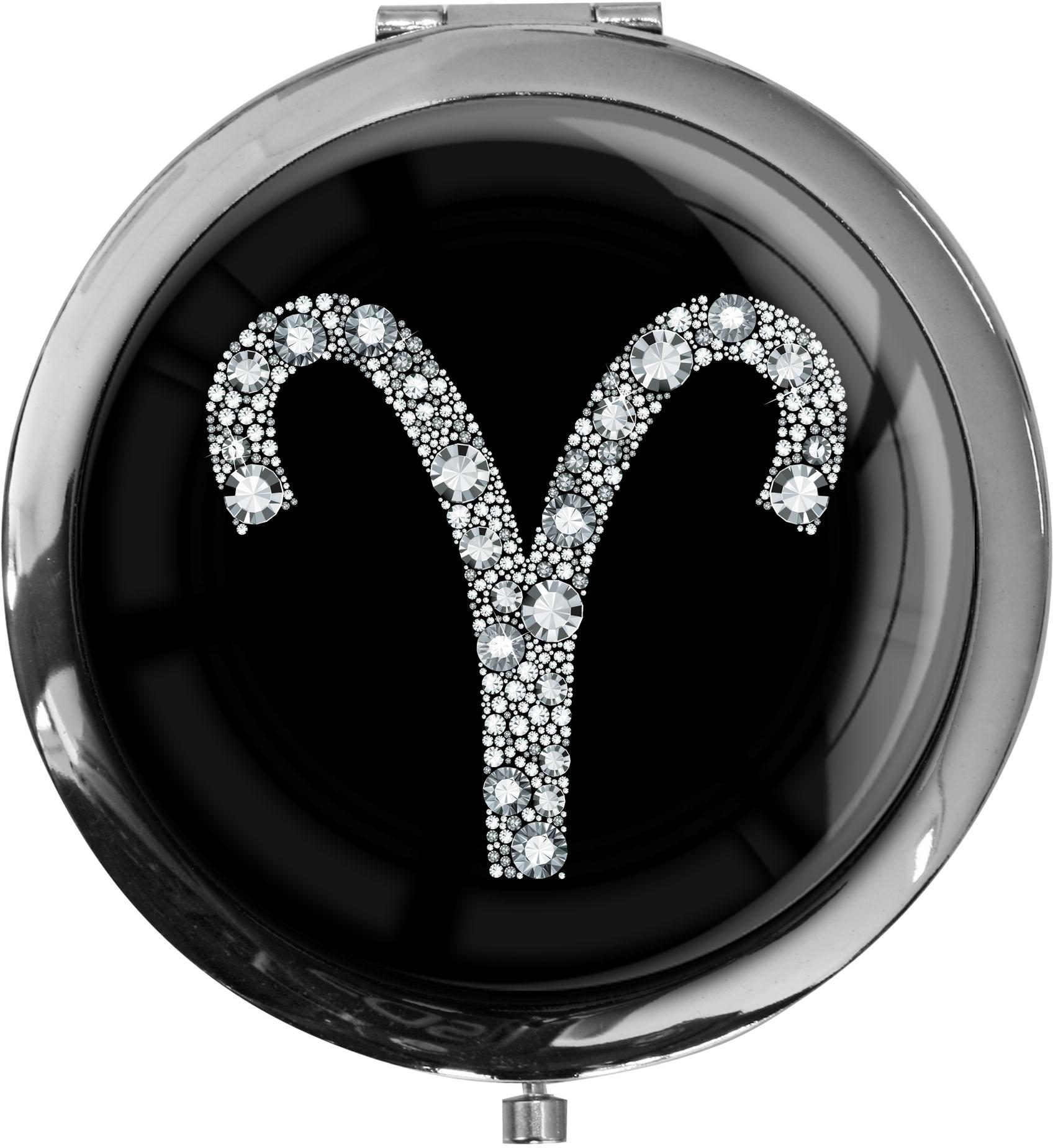 """metALUm Premium Taschenspiegel in runder Form """"Sternzeichen Widder in Silber"""""""