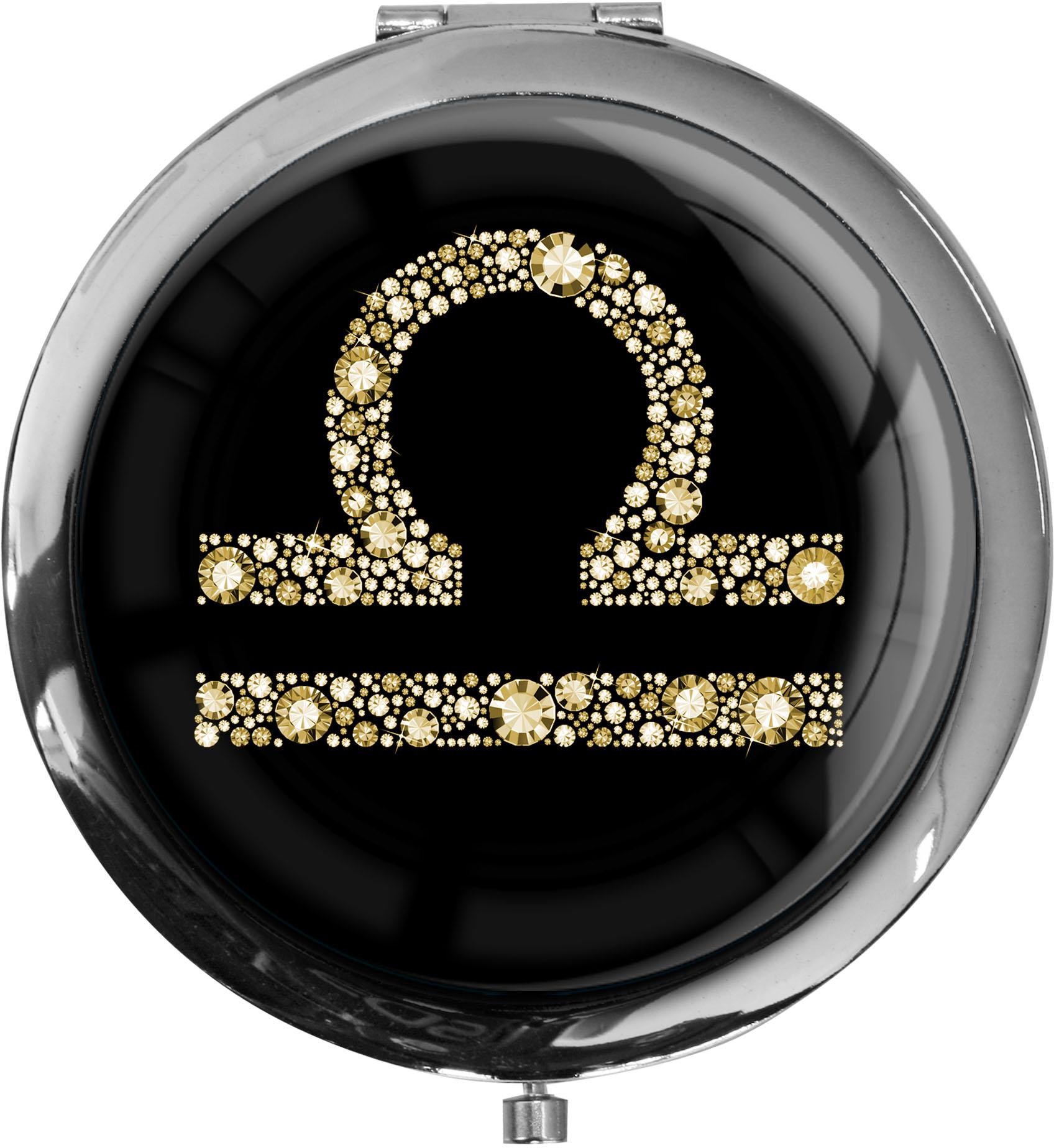 """metALUm Premium Taschenspiegel in runder Form """"Sternzeichen Waage in Gold"""""""
