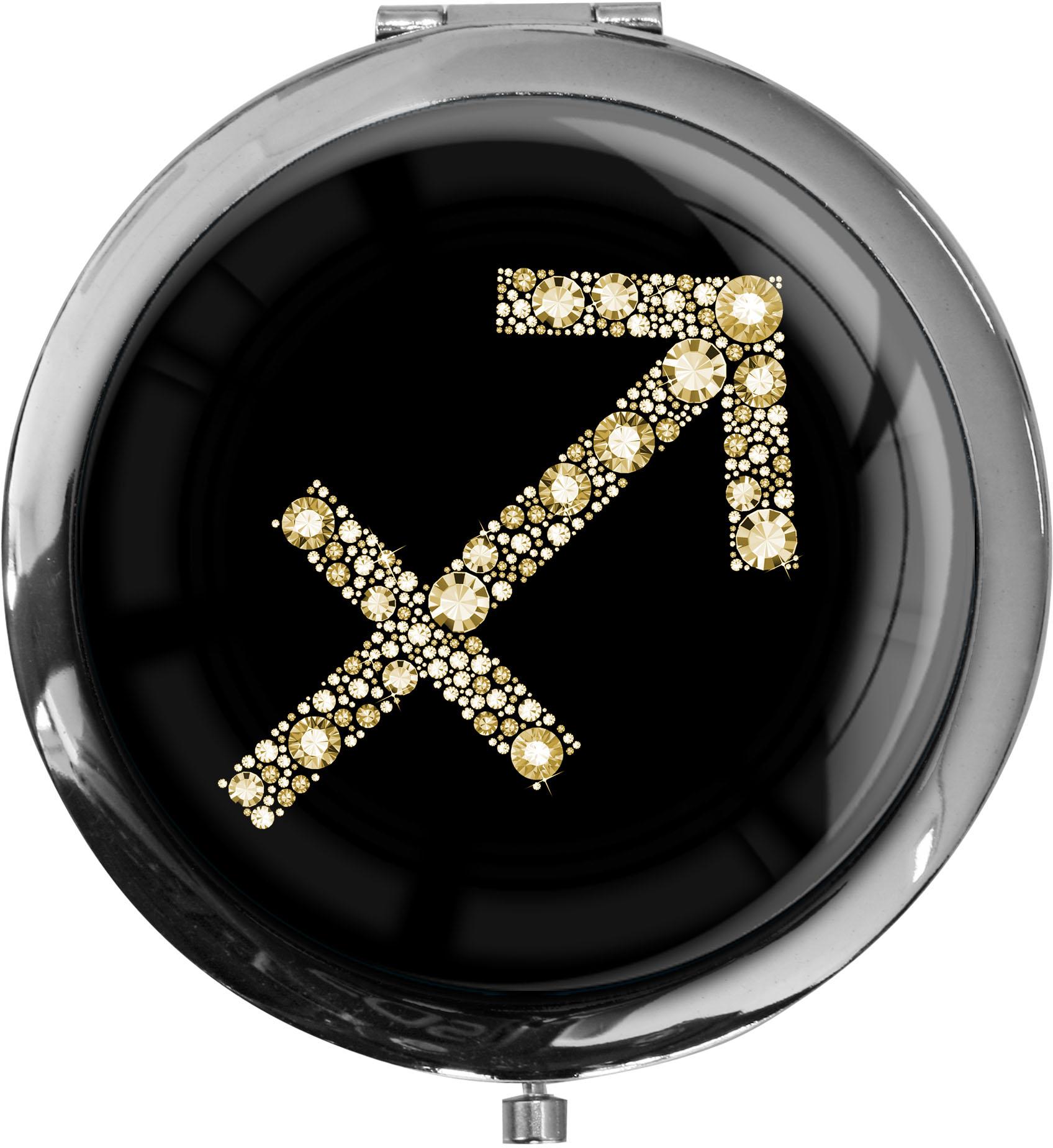 """metALUm Premium Taschenspiegel in runder Form """"Sternzeichen Schütze in Gold"""""""