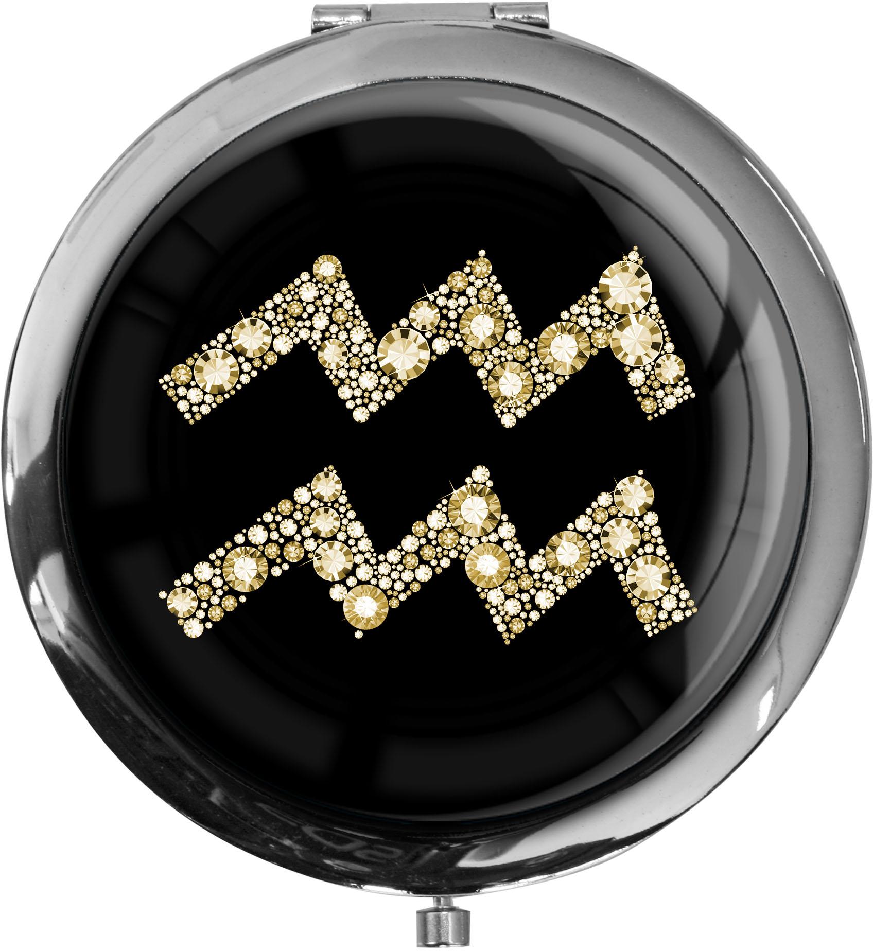 """metALUm Premium Taschenspiegel in runder Form """"Sternzeichen Wassermann in Gold"""""""
