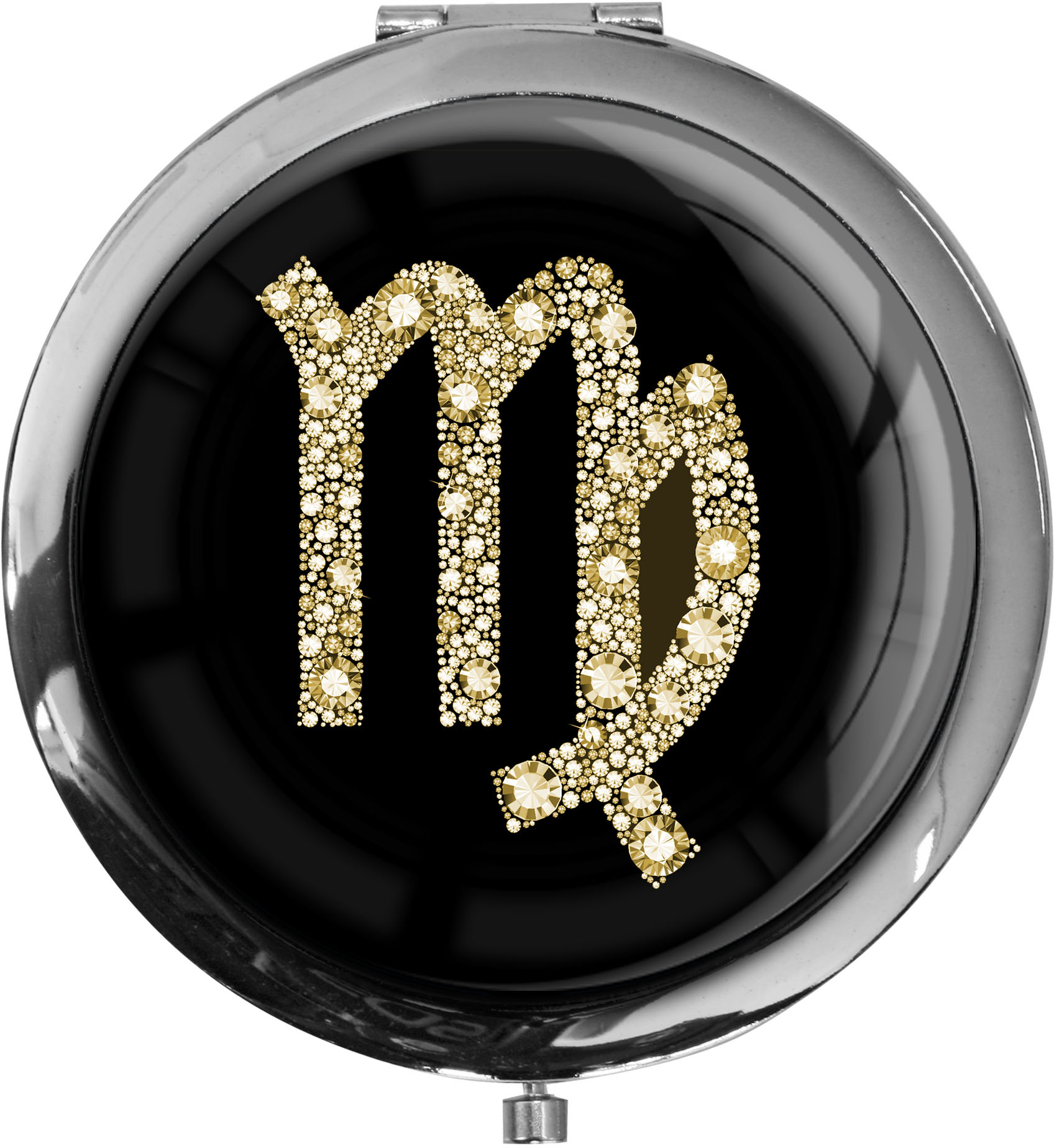 """metALUm Premium Taschenspiegel in runder Form """"Sternzeichen Jungfrau in Gold"""""""