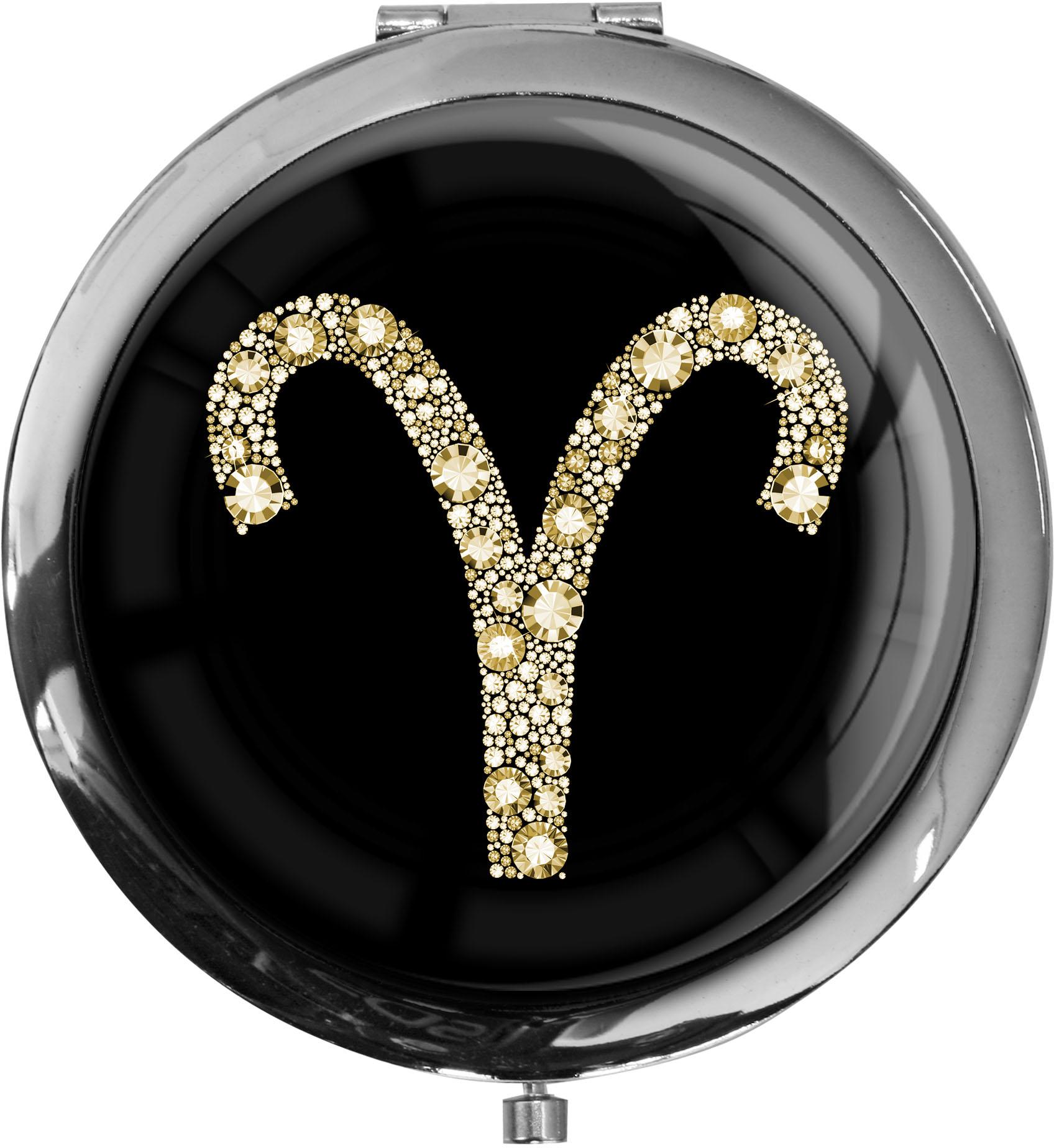 """metALUm Premium Taschenspiegel in runder Form """"Sternzeichen Widder in Gold"""""""