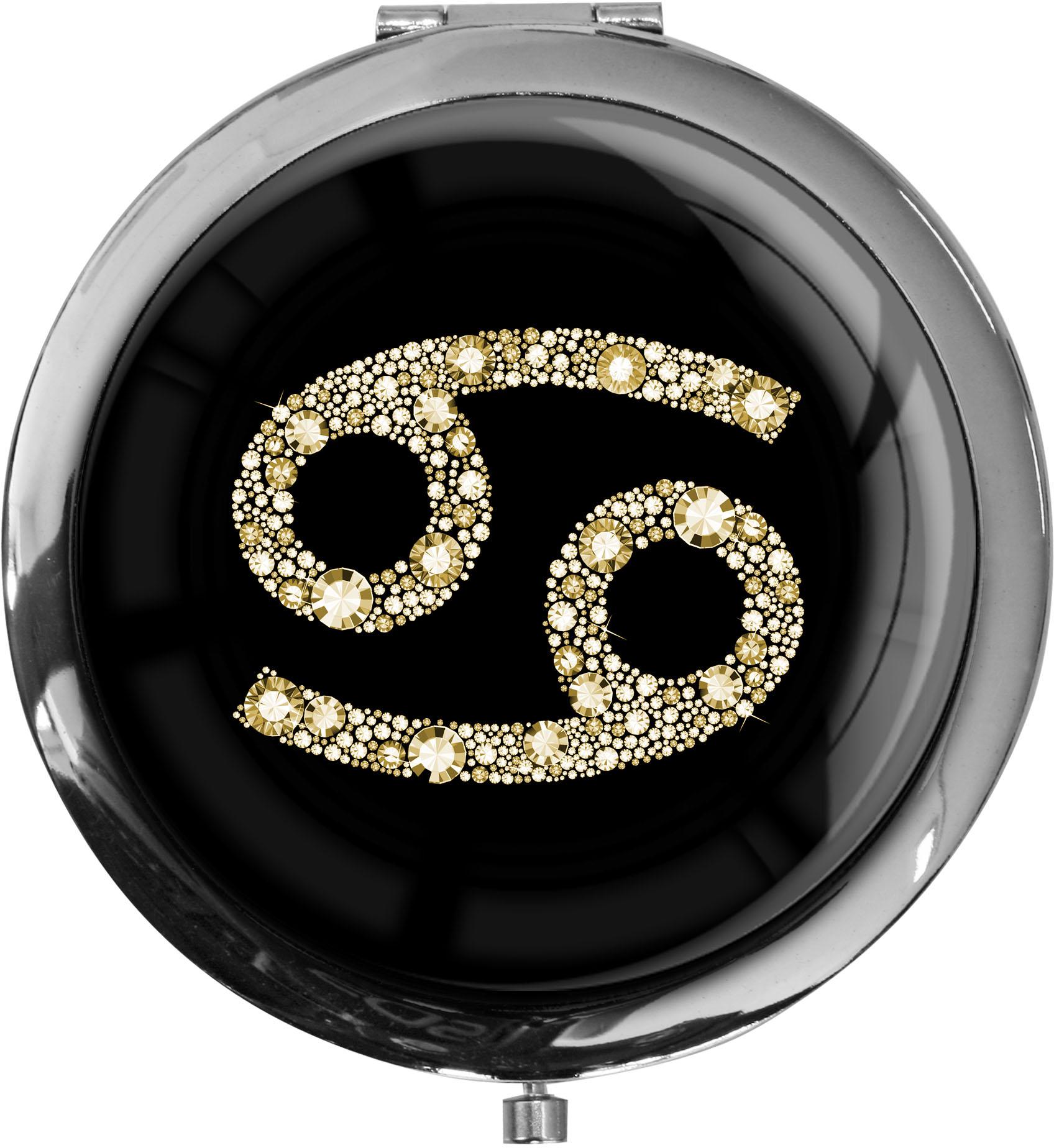 """metALUm Premium Taschenspiegel in runder Form """"Sternzeichen Krebs in Gold"""""""