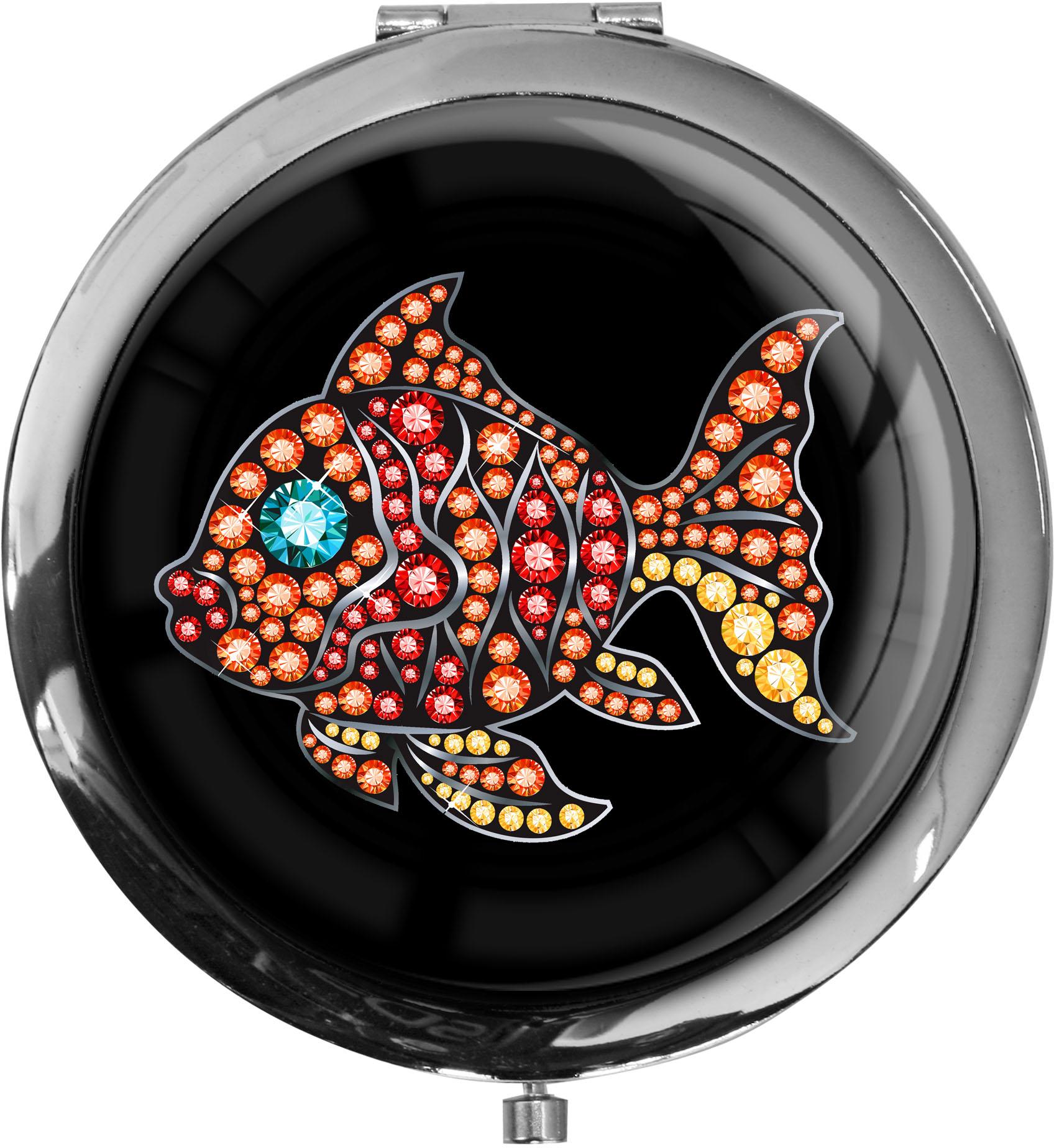 """metALUm Premium Taschenspiegel in runder Form """"Fisch"""""""