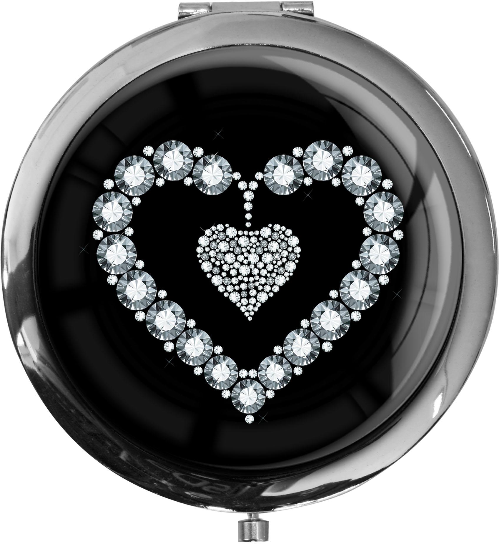 """metALUm Premium Taschenspiegel in runder Form """"Silbernes Herz"""""""