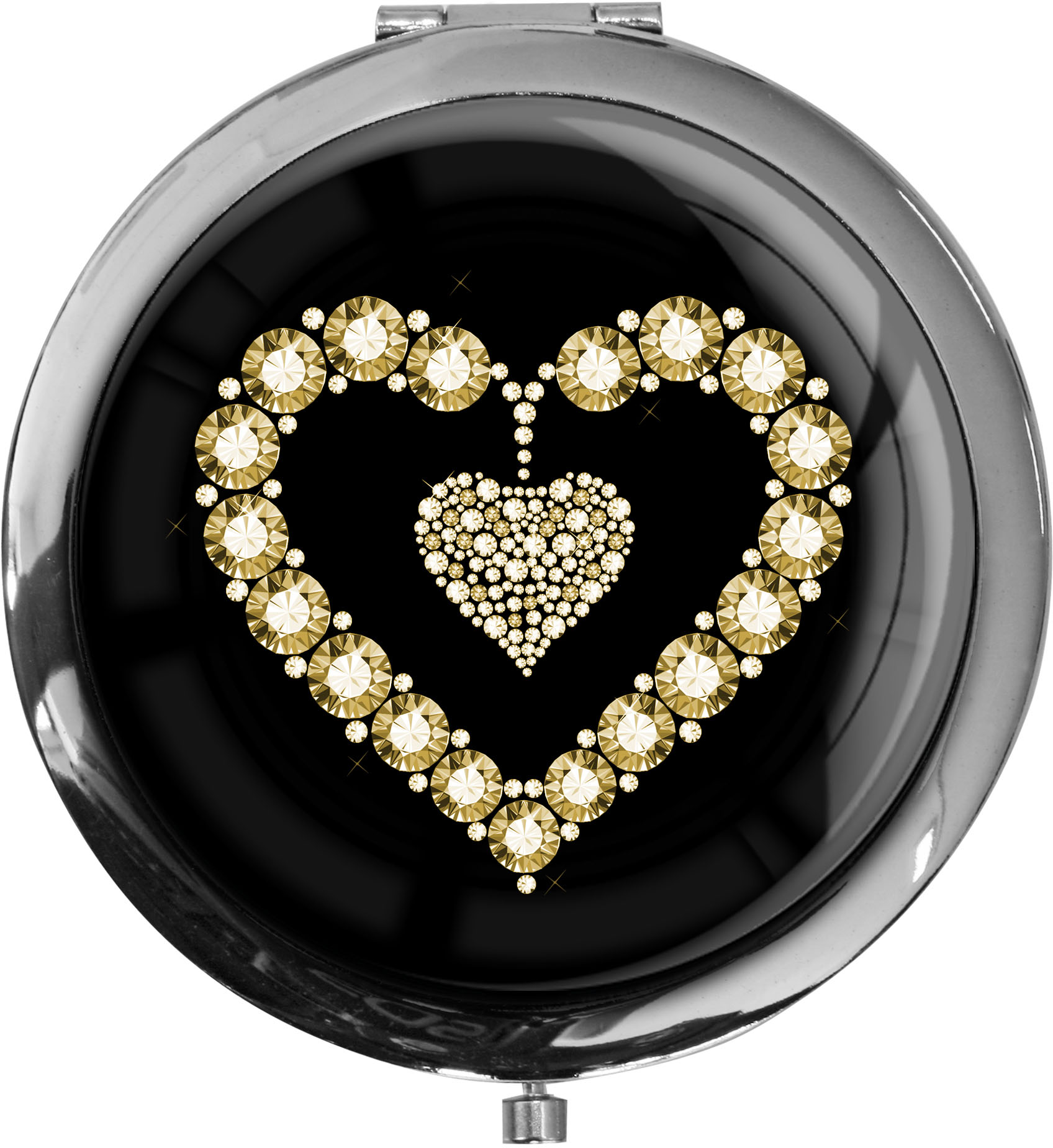 "metALUm Premium Taschenspiegel in runder Form ""Goldenes Herz"""