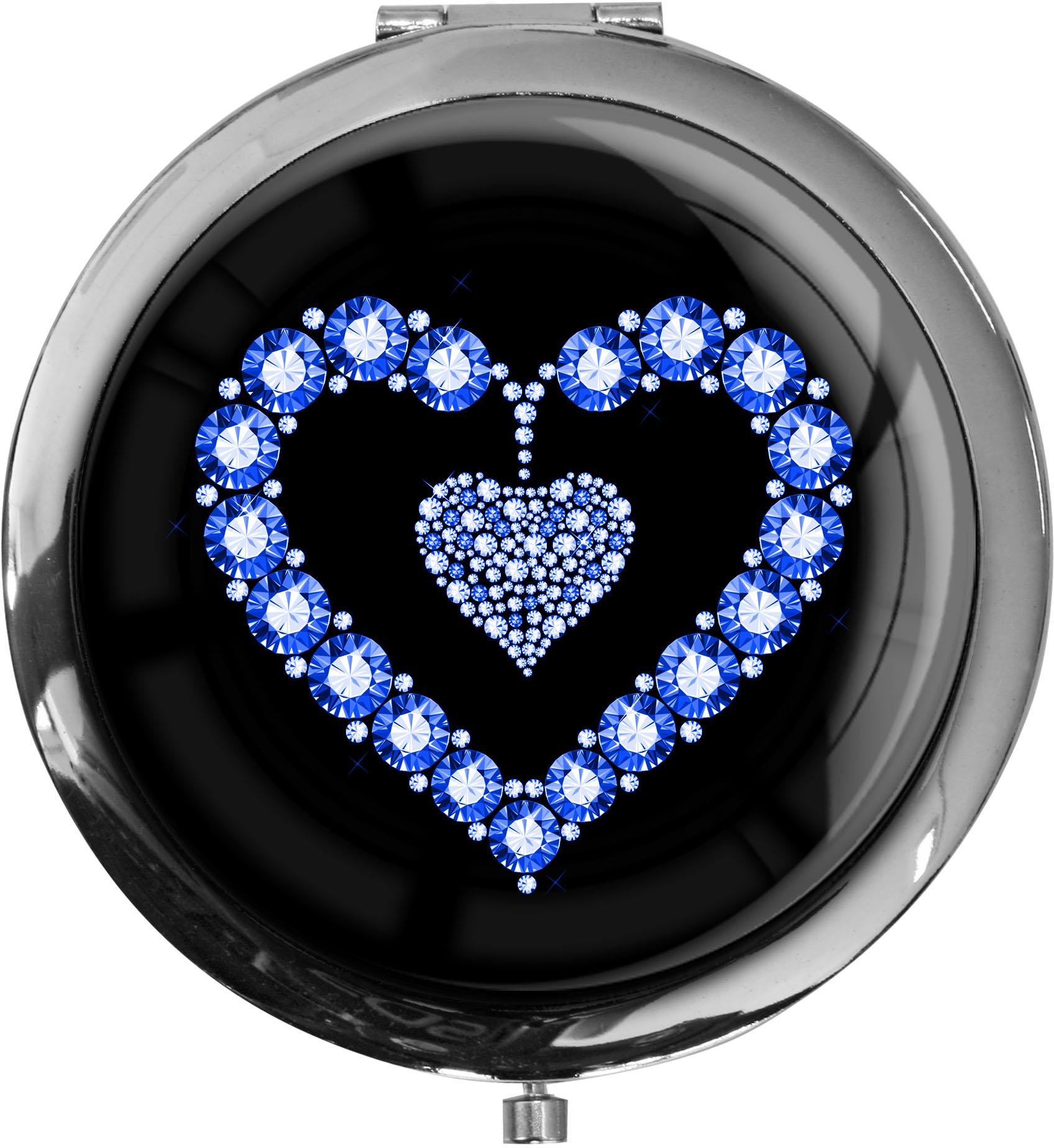 """metALUm Premium Taschenspiegel in runder Form """"Blaues Herz"""""""