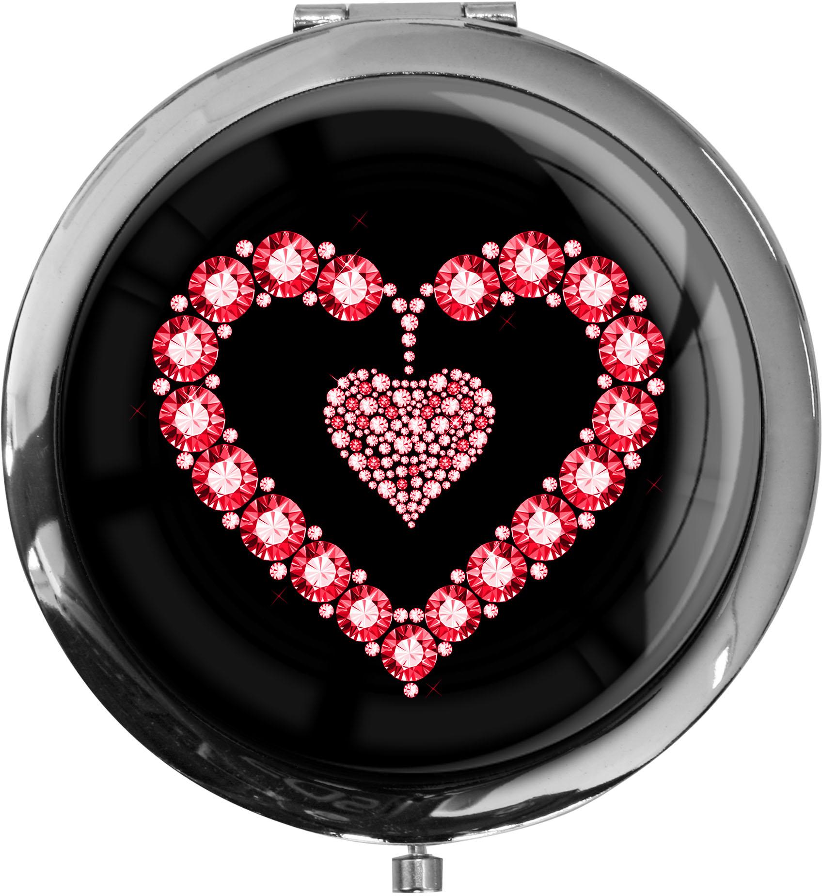 """metALUm Premium Taschenspiegel in runder Form """"Rotes Herz"""""""