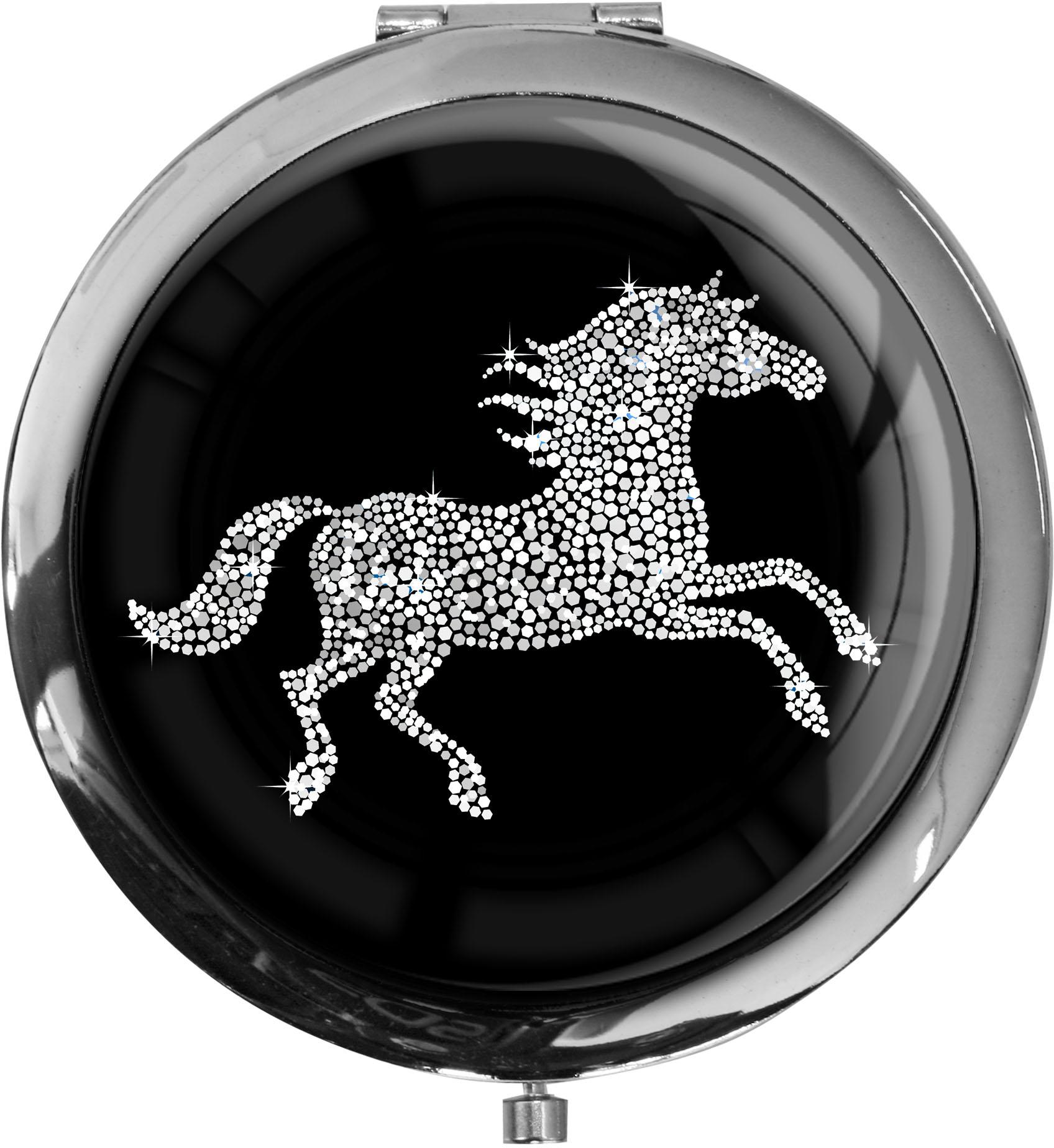 """metALUm Premium Taschenspiegel in runder Form """"Pferd in Silber"""""""