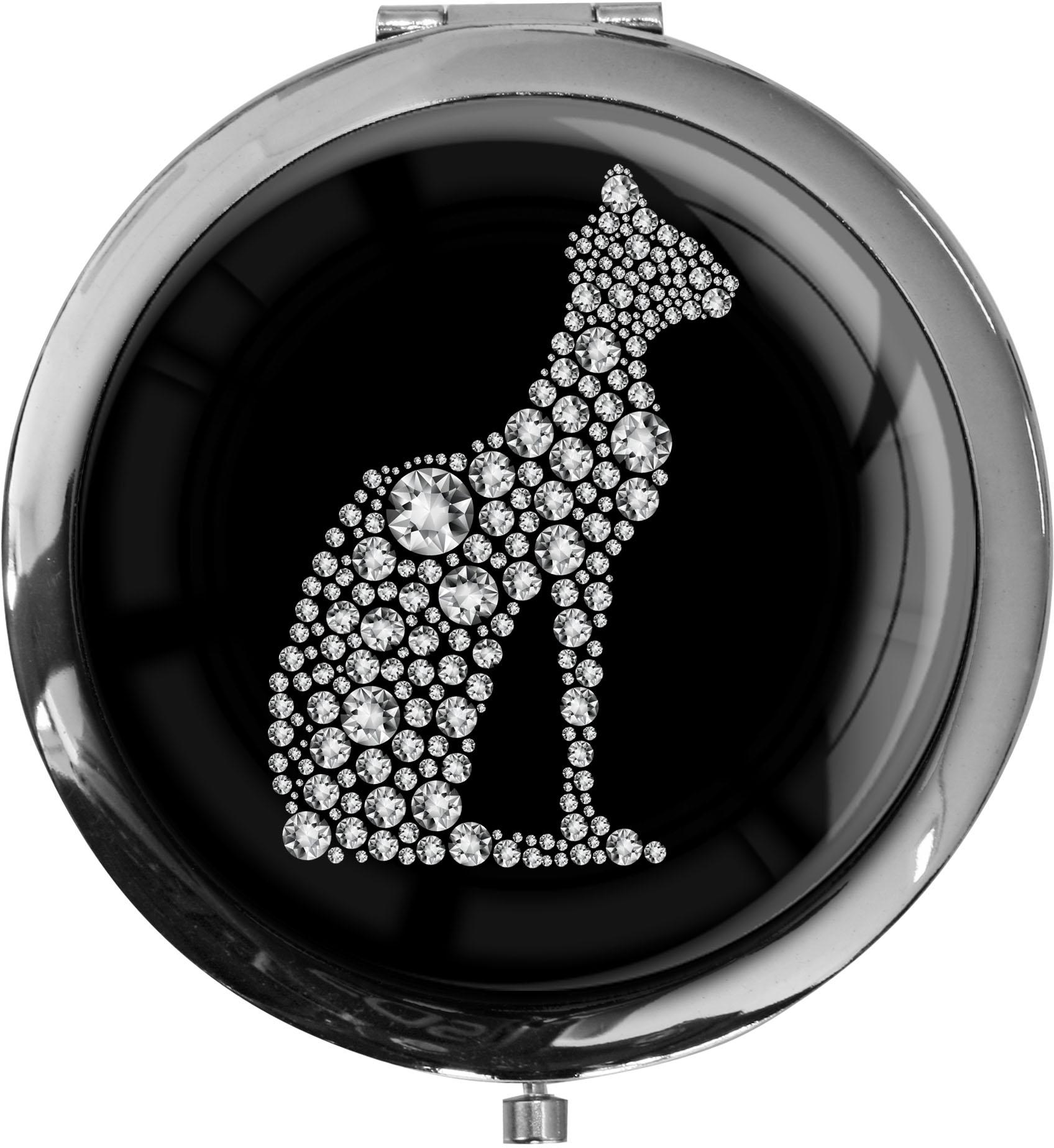 """metALUm Premium Taschenspiegel in runder Form """"Katze in Silber"""""""