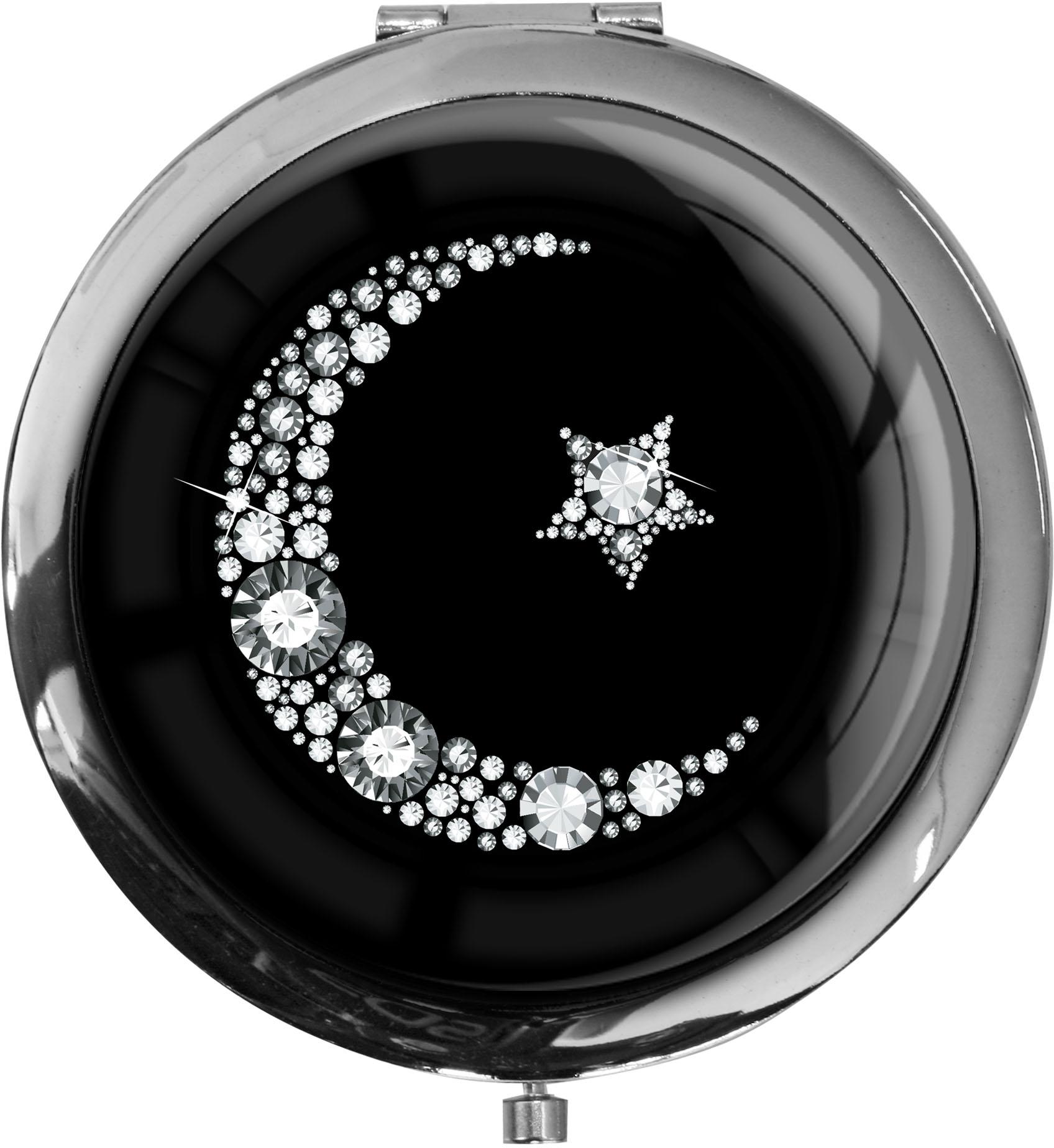"""metALUm Premium Taschenspiegel in runder Form """"Islamischer Mond in Silber"""""""