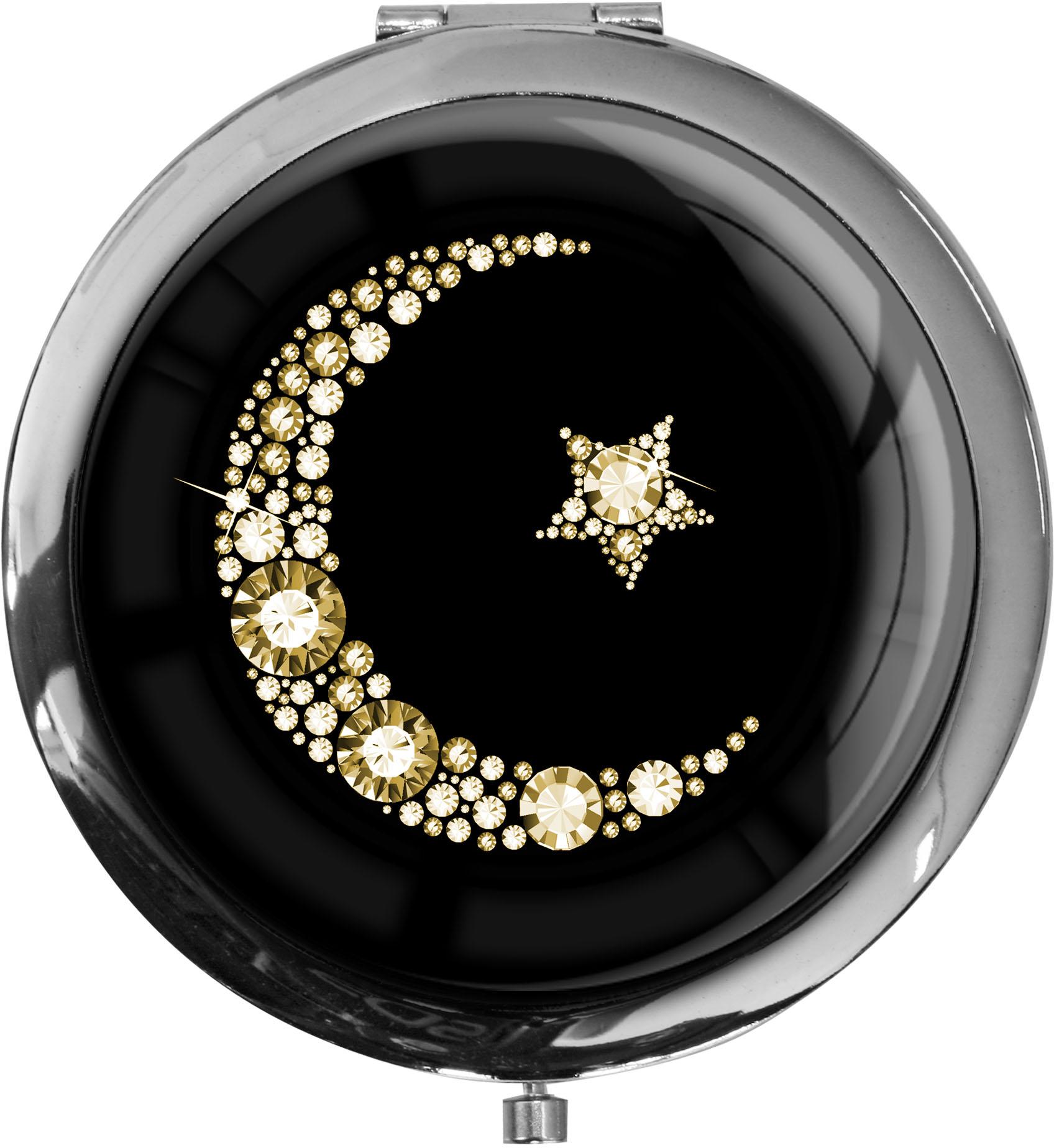 """metALUm Premium Taschenspiegel in runder Form """"Islamischer Mond in Gold"""""""