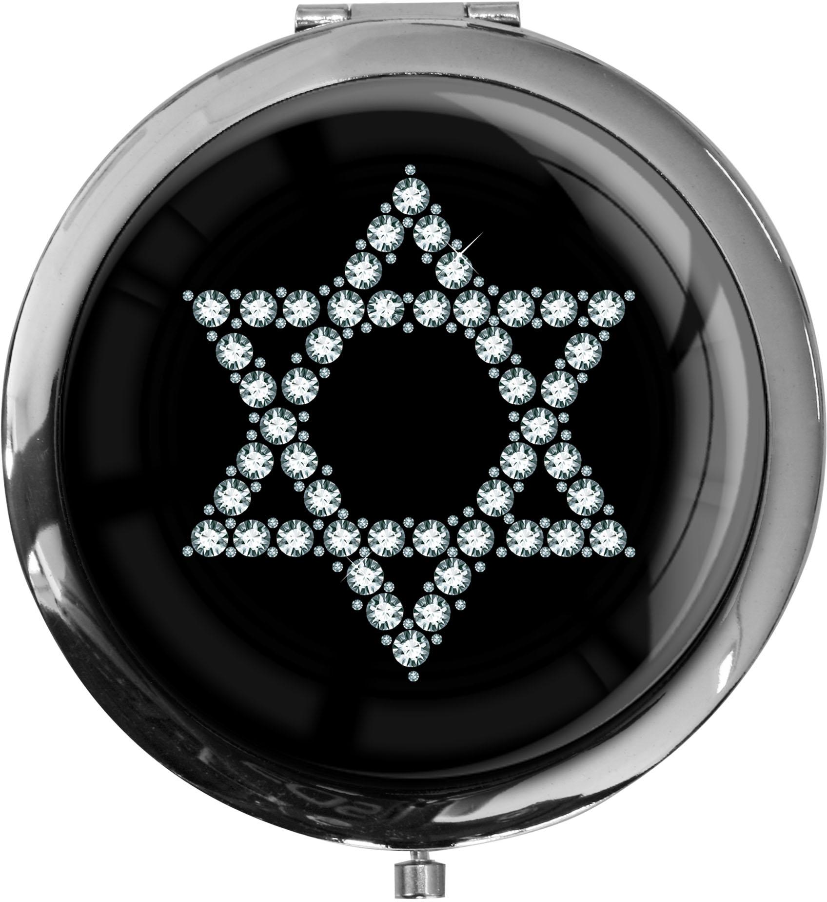 """metALUm Premium Taschenspiegel in runder Form """"Davidstern in Silber"""""""