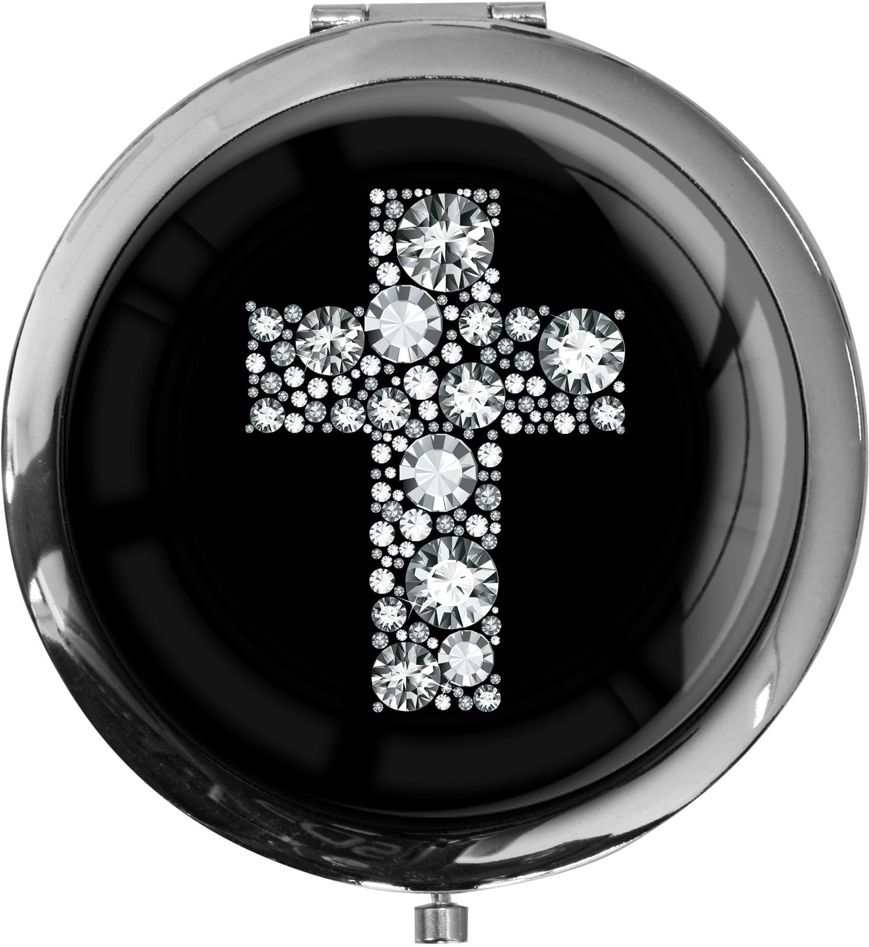 """metALUm Premium Taschenspiegel in runder Form """"Kreuz in Silber"""""""