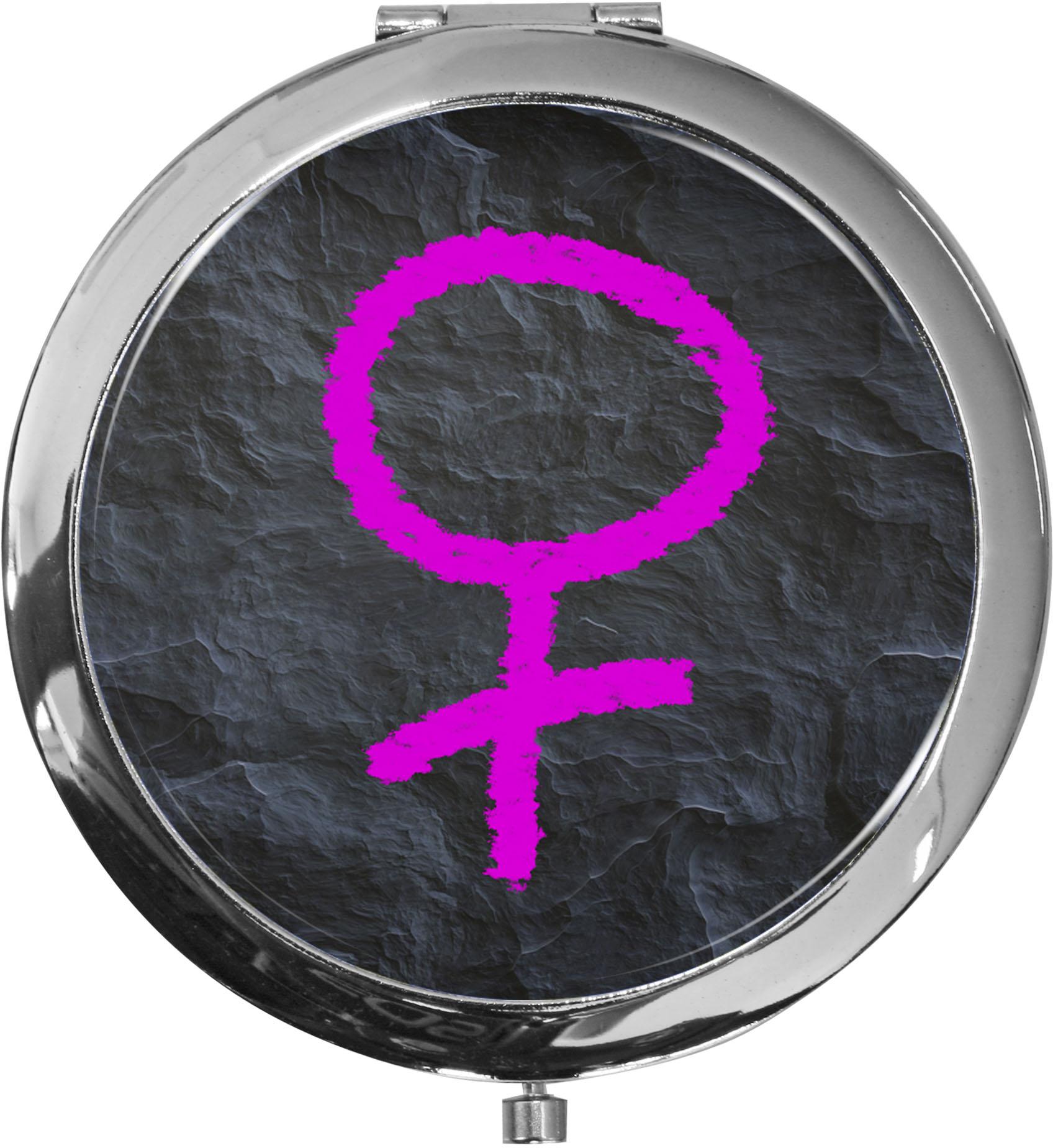 Taschenspiegel / Spiegel / Venussymbol / 2 fache Vergrößerung