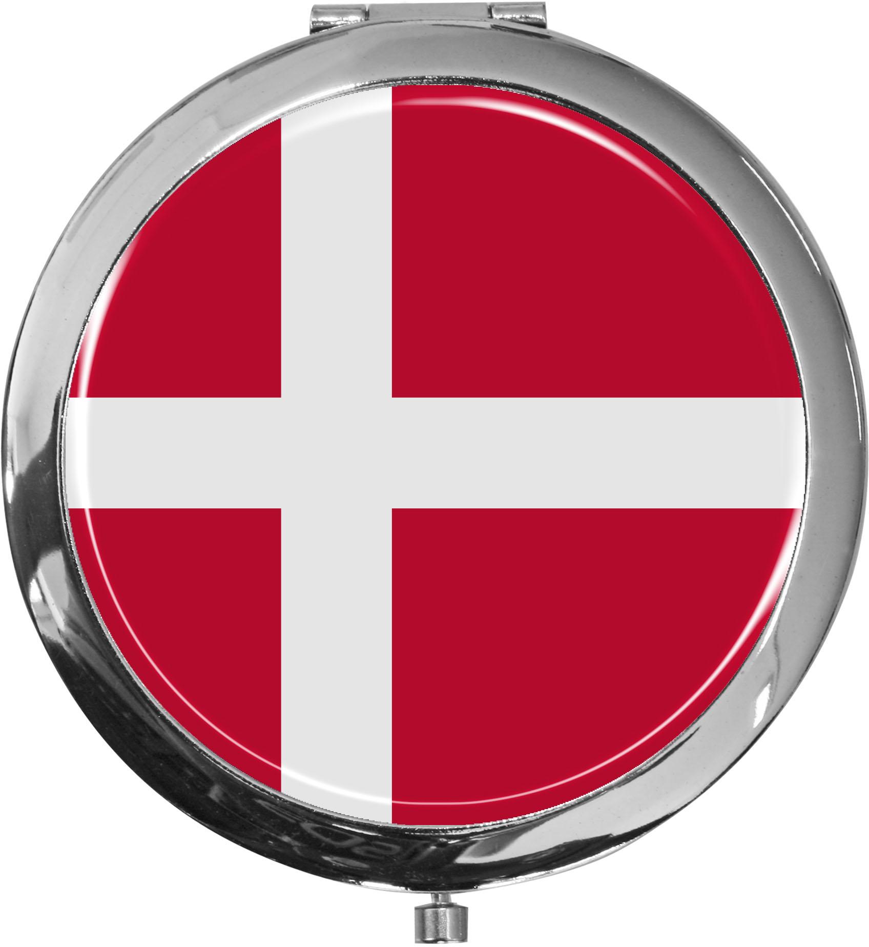 Taschenspiegel / Spiegel / Flagge Dänemark / 2 fache Vergrößerung