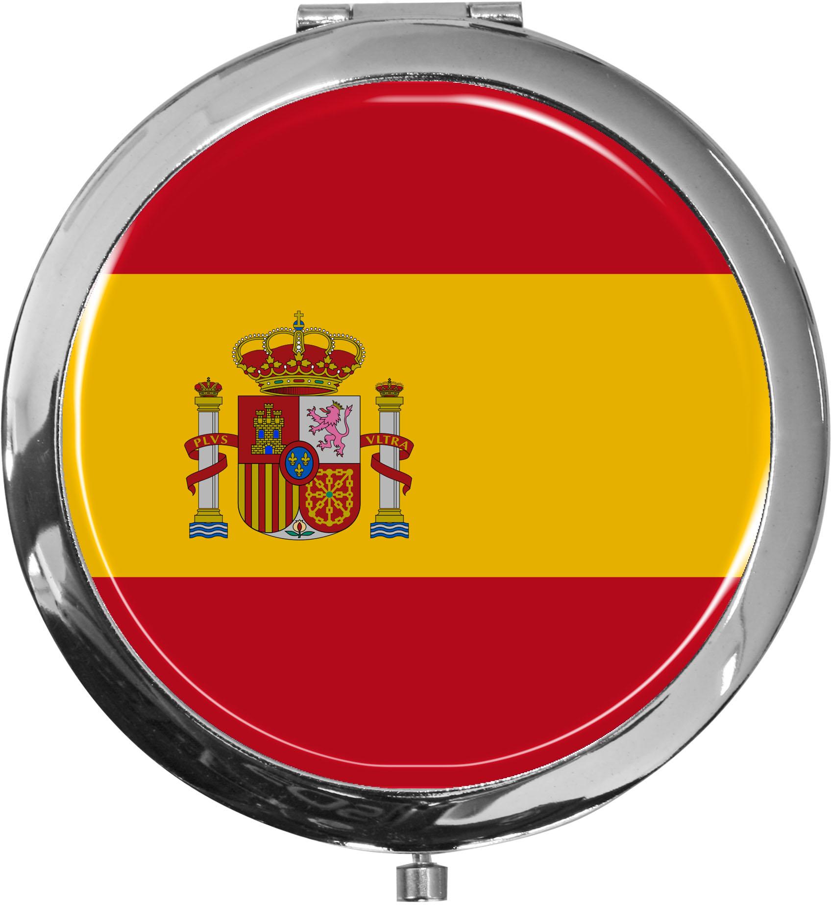 Taschenspiegel / Spiegel / Flagge Spanien / 2 fache Vergrößerung