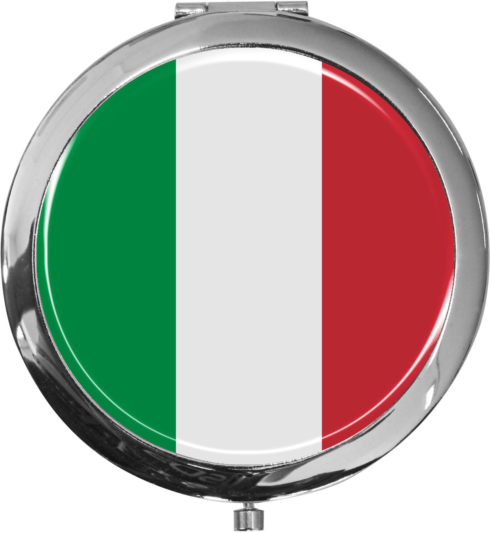 Taschenspiegel / Spiegel / Flagge Italien / 2 fache Vergrößerung