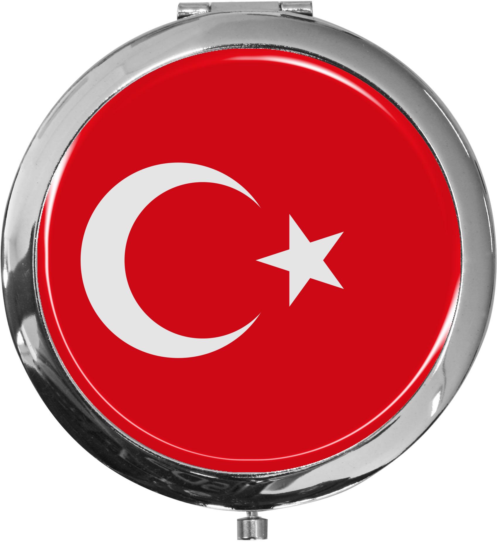 Taschenspiegel / Spiegel / Flagge Türkei / 2 fache Vergrößerung