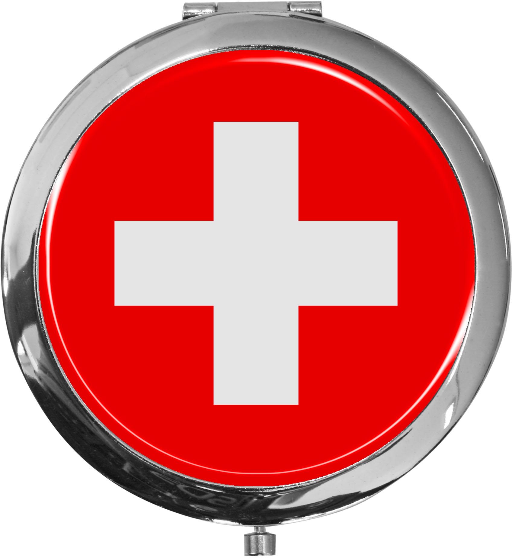 Taschenspiegel / Spiegel / Flagge Schweiz / 2 fache Vergrößerung