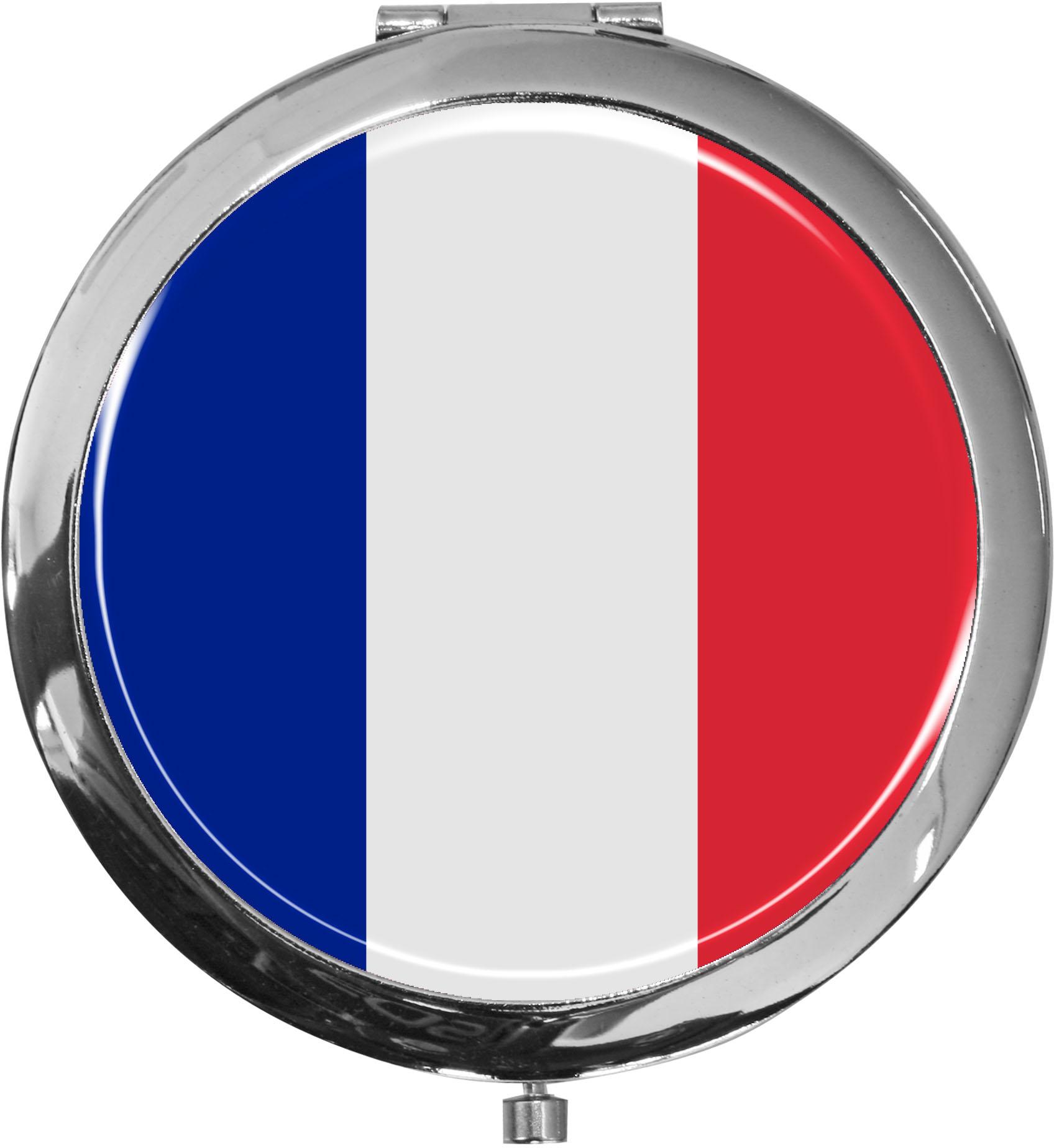 Taschenspiegel / Spiegel / Flagge Frankreich / 2 fache Vergrößerung