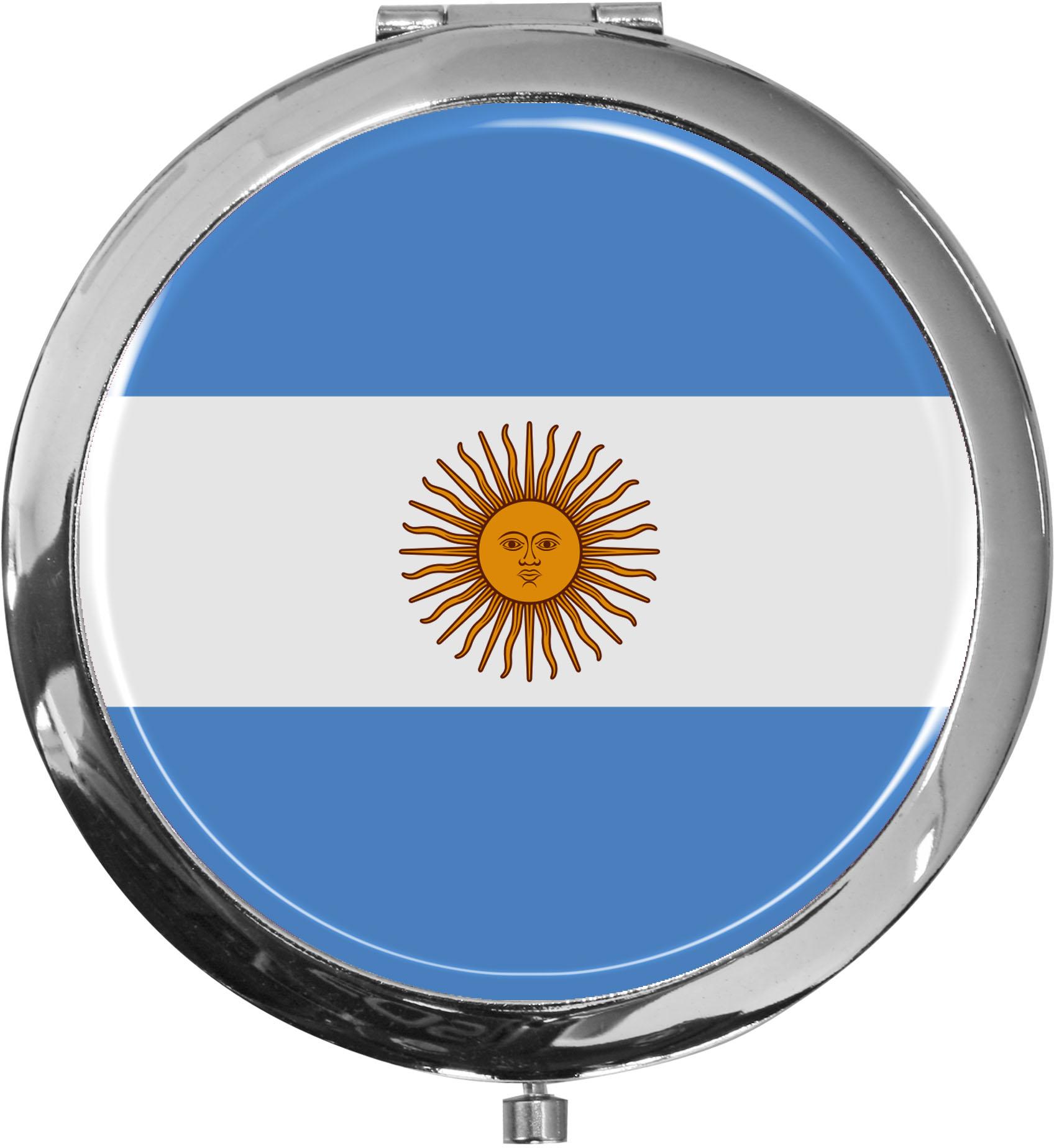 Taschenspiegel / Spiegel / Flagge Argentinien / 2 fache Vergrößerung
