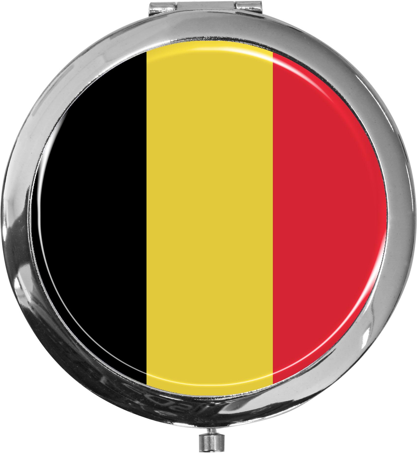 Taschenspiegel / Spiegel / Flagge Belgien / 2 fache Vergrößerung