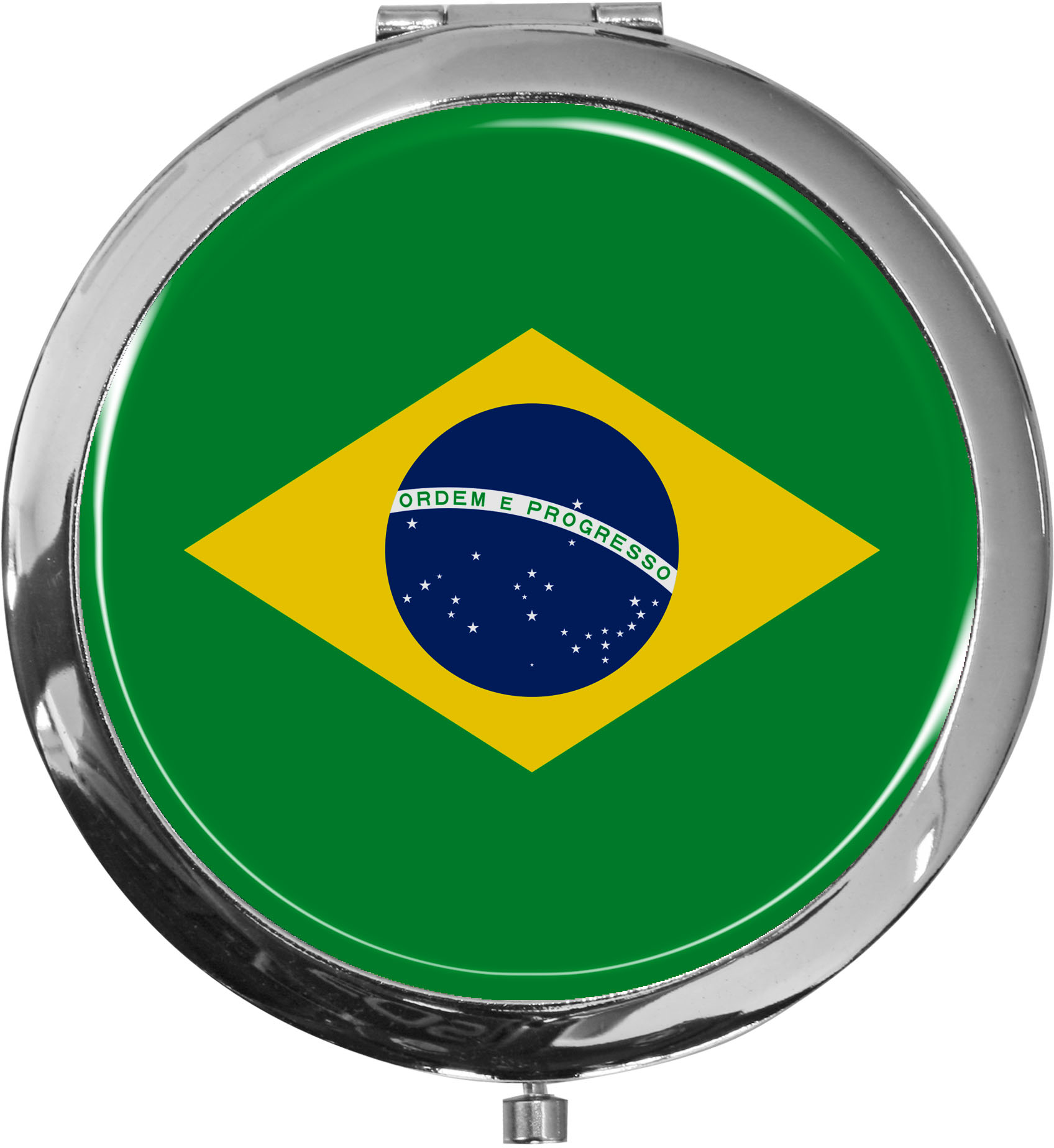 Taschenspiegel / Spiegel / Flagge Brasilien / 2 fache Vergrößerung