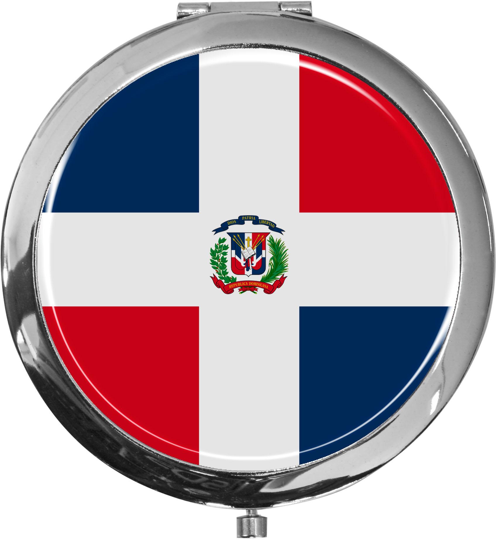 Taschenspiegel / Spiegel / Flagge Dominikanische Republik / 2 fache Vergrößerung