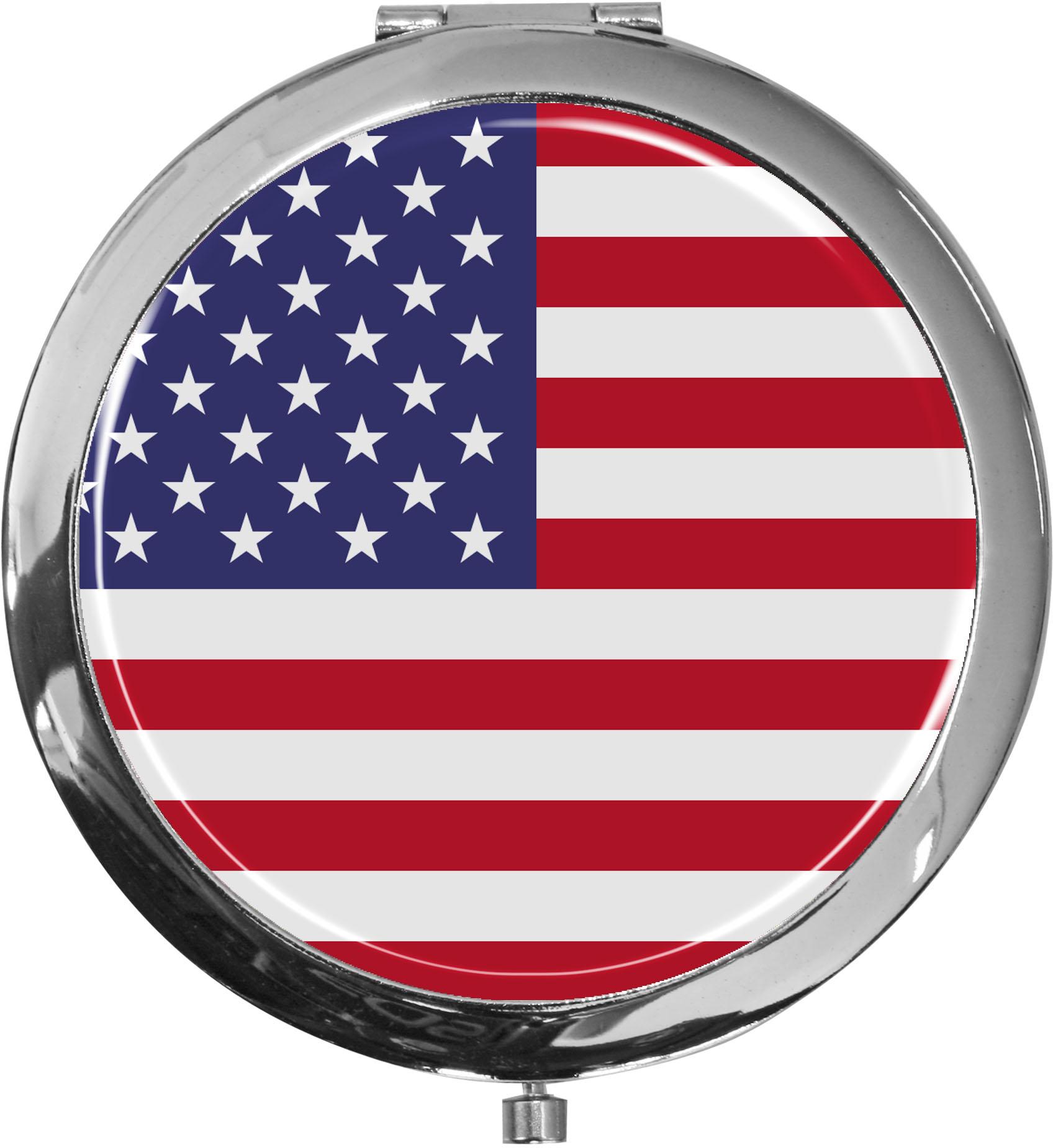 Taschenspiegel / Spiegel / Flagge USA / 2 fache Vergrößerung