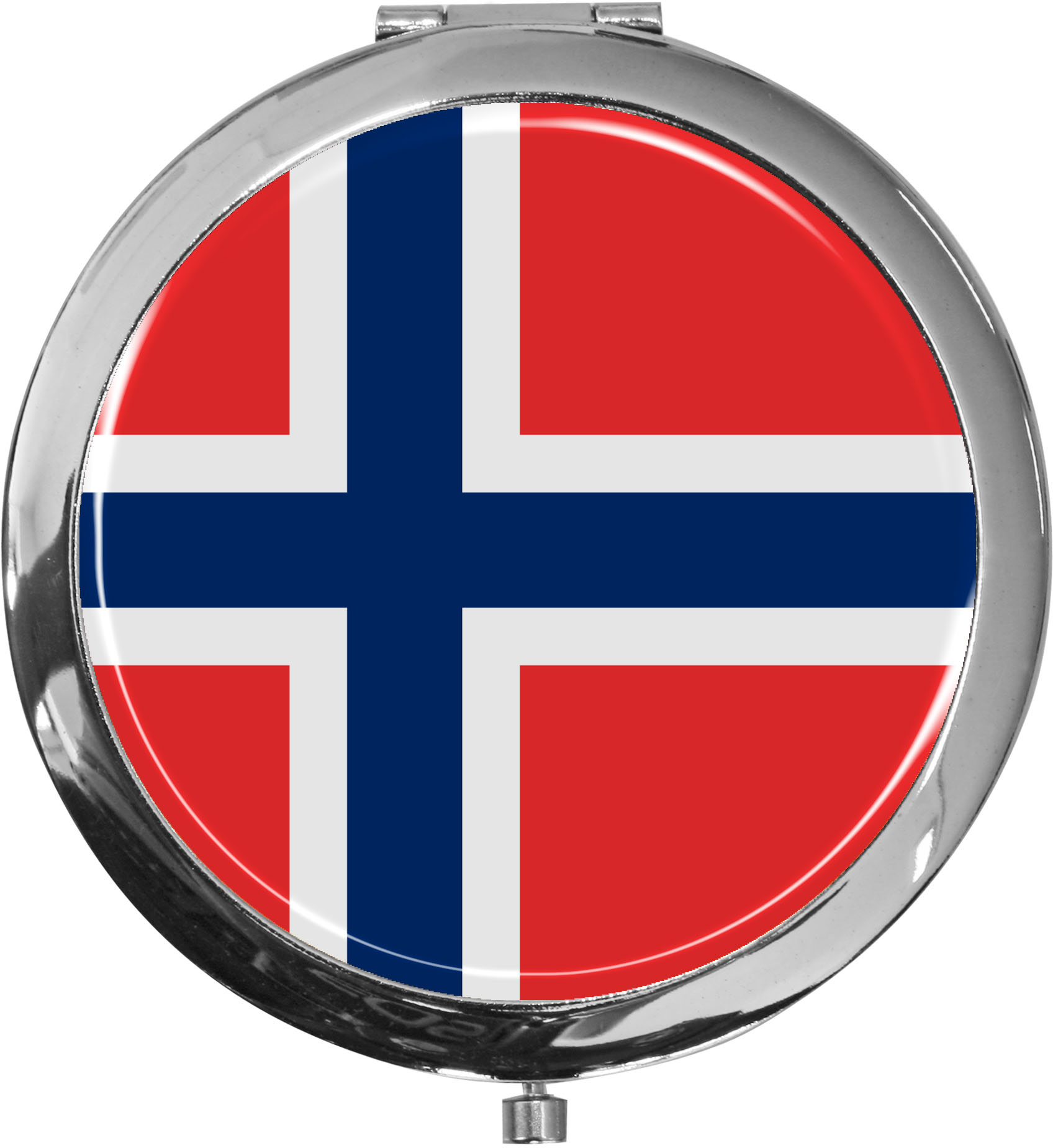 Taschenspiegel / Spiegel / Flagge Norwegen / 2 fache Vergrößerung