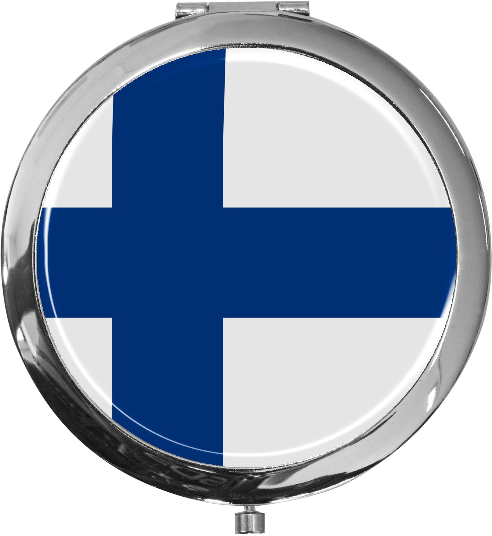 Taschenspiegel / Spiegel / Flagge Finnland / 2 fache Vergrößerung