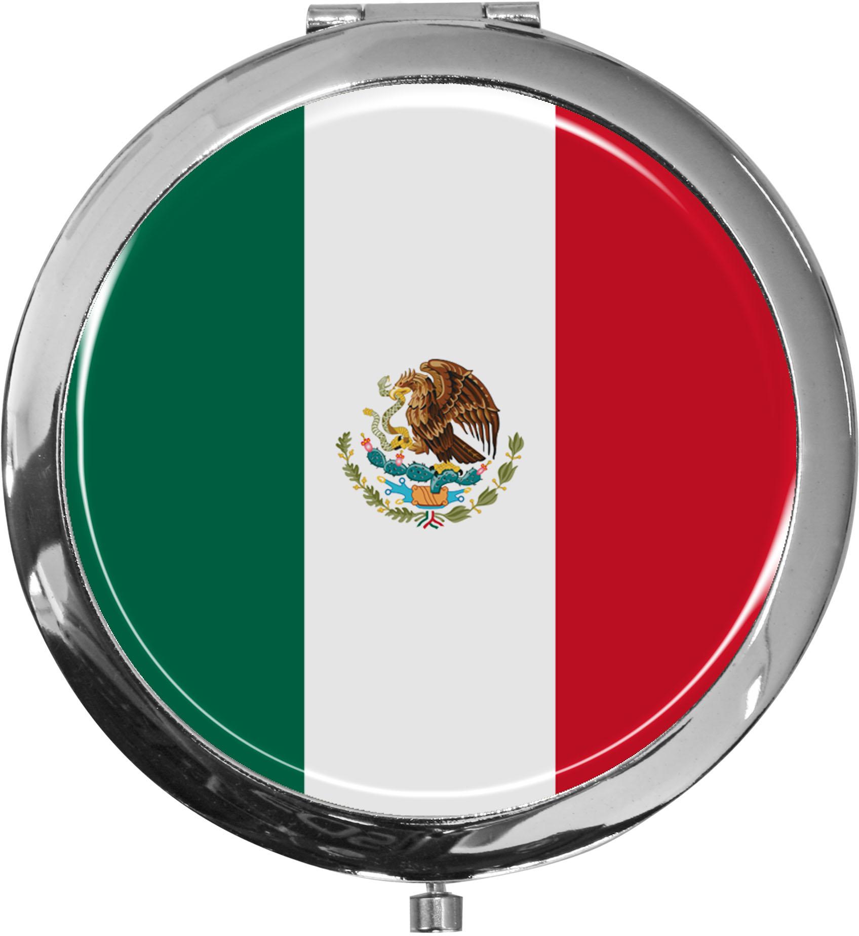 Taschenspiegel / Spiegel / Flagge Mexiko / 2 fache Vergrößerung