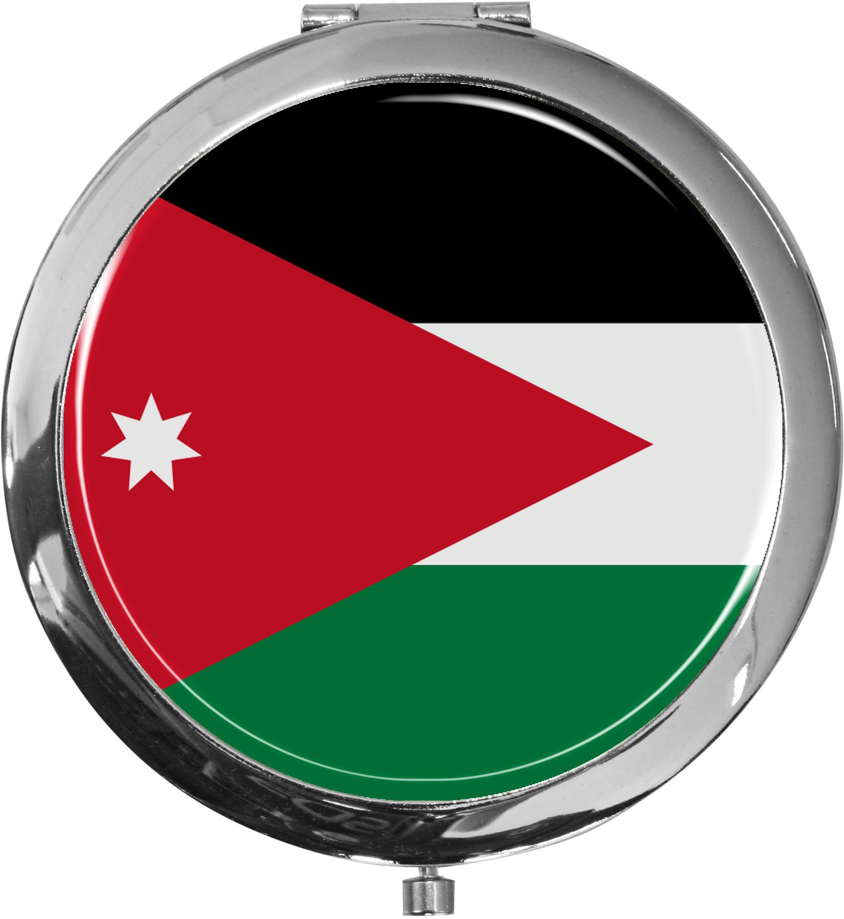 Taschenspiegel / Spiegel / Flagge Jordanien / 2 fache Vergrößerung