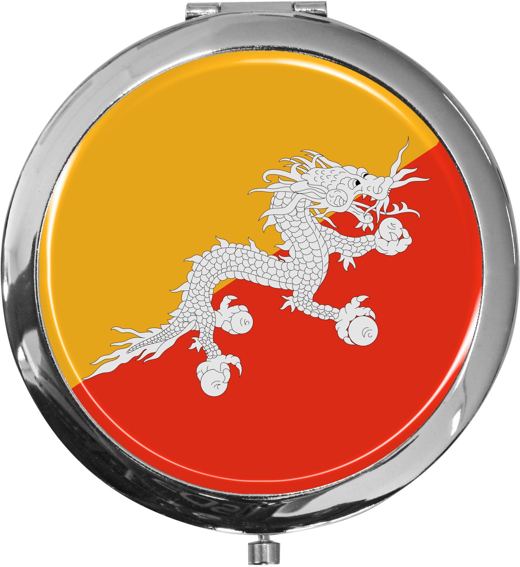 Taschenspiegel / Spiegel / Flagge Buthan / 2 fache Vergrößerung