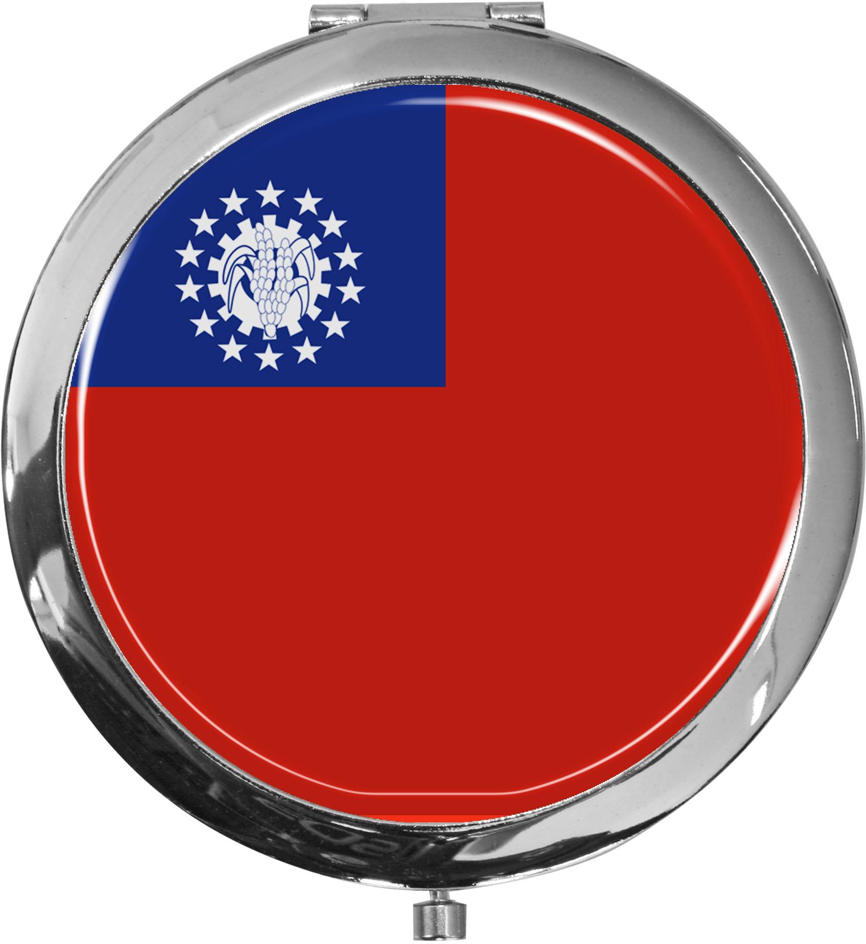 Taschenspiegel / Spiegel / Flagge Myanmar / 2 fache Vergrößerung