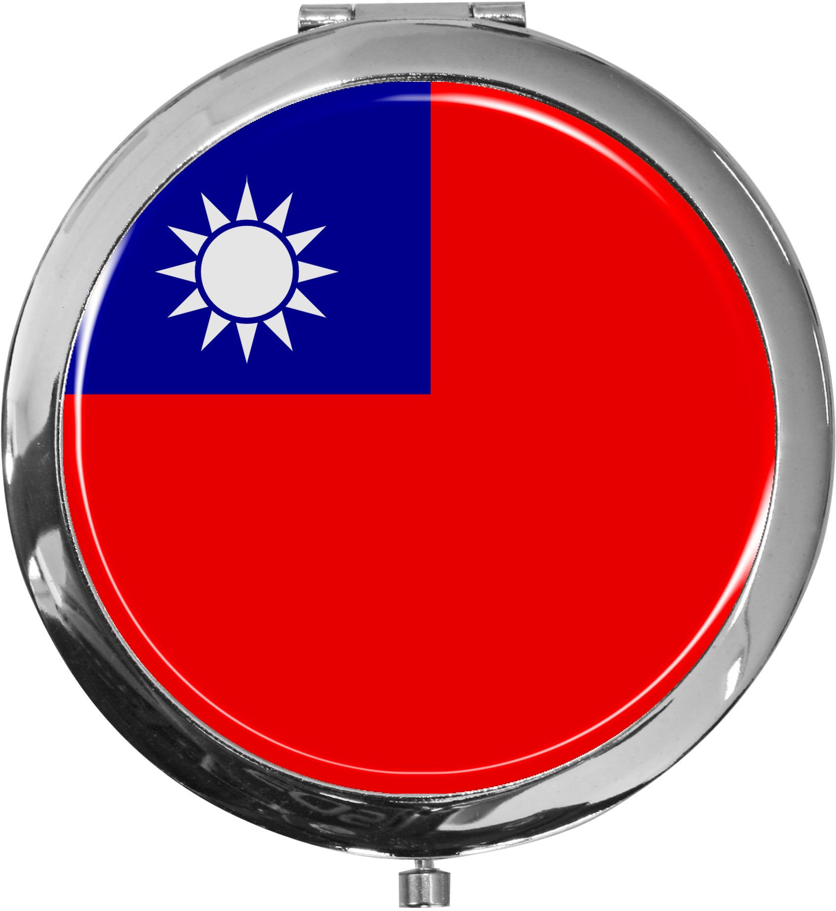 Taschenspiegel / Spiegel / Flagge Taiwan / 2 fache Vergrößerung