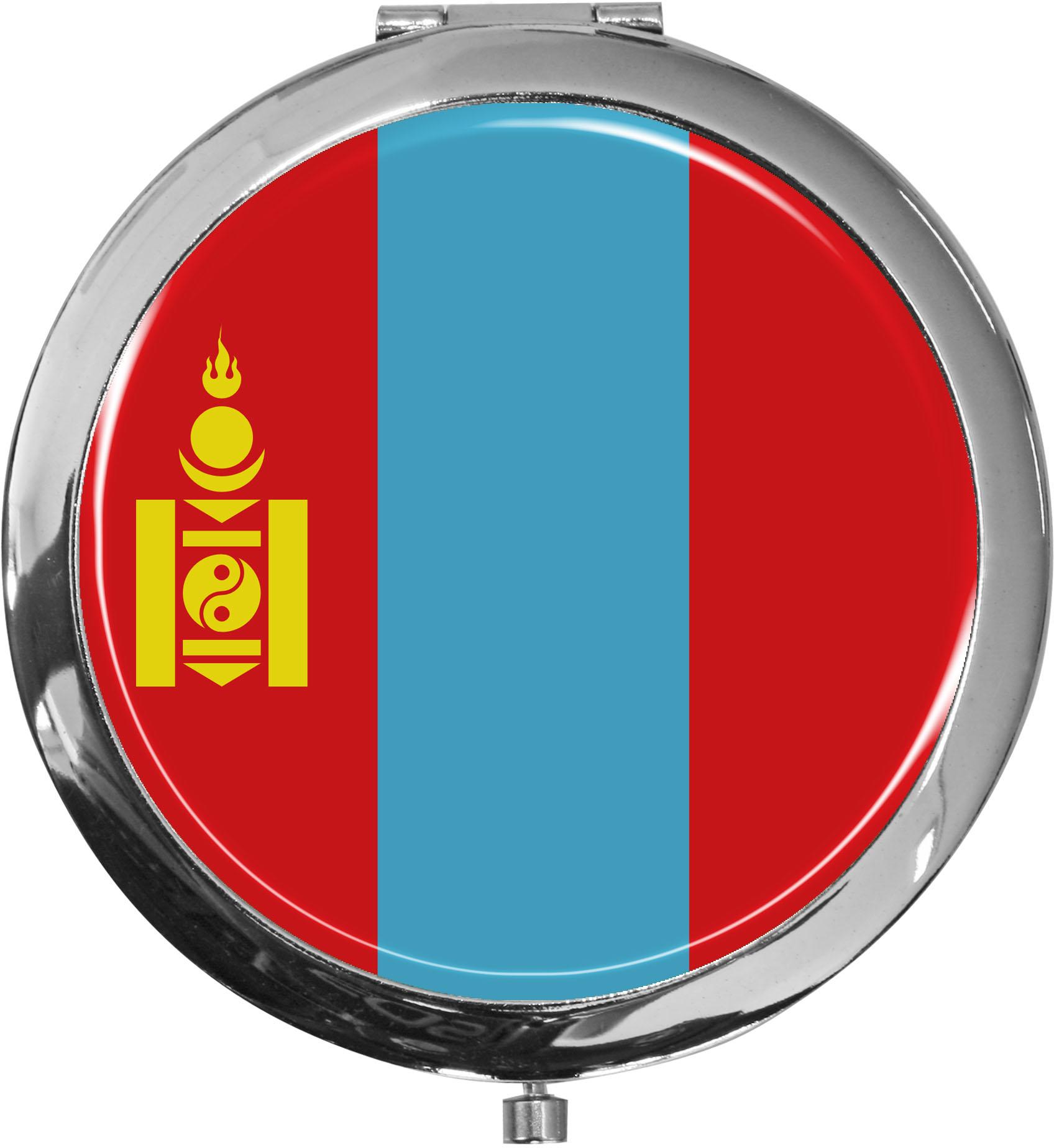 Taschenspiegel / Spiegel / Flagge Mongolei / 2 fache Vergrößerung