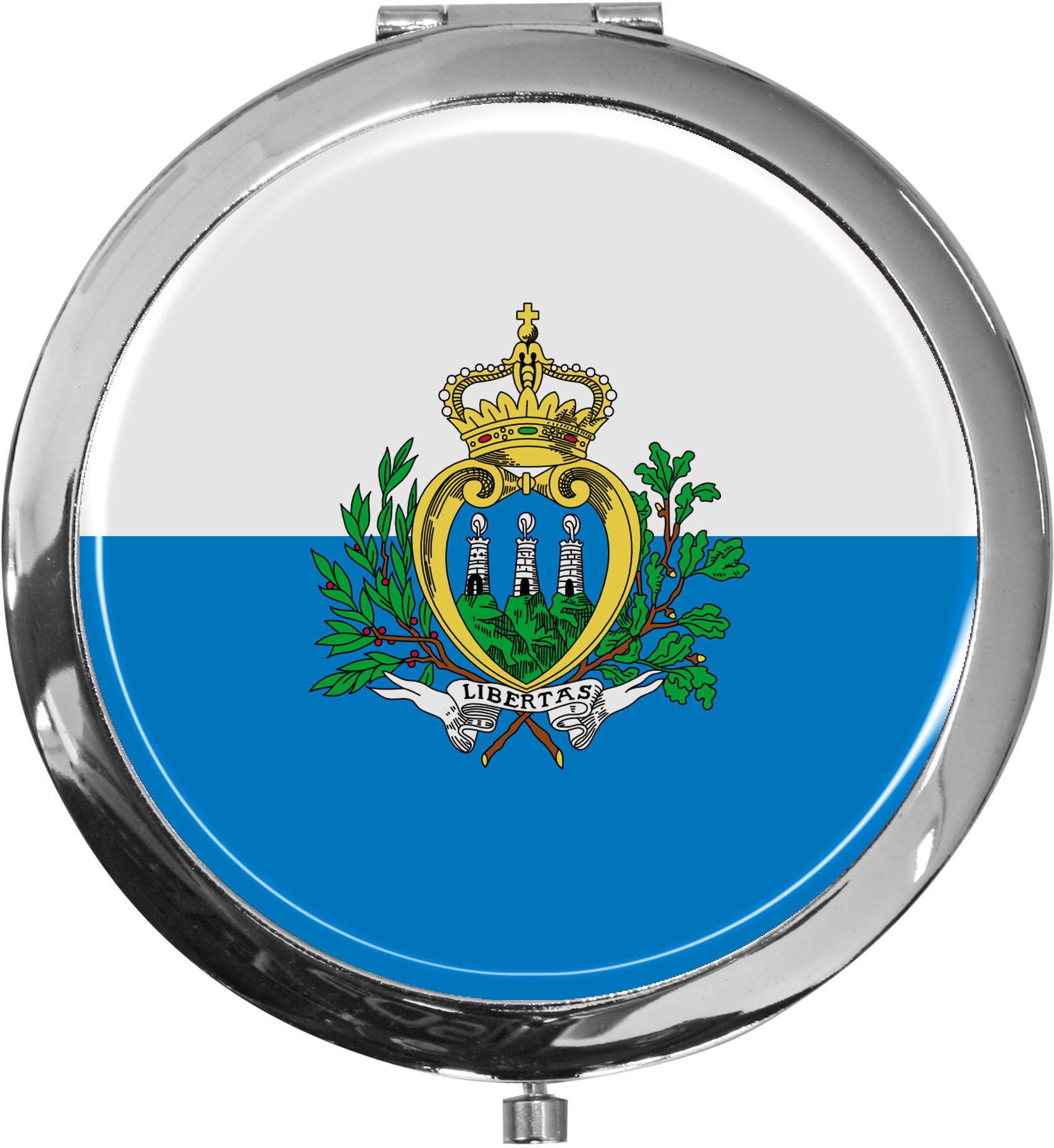Taschenspiegel / Spiegel / Flagge San Marino / 2 fache Vergrößerung