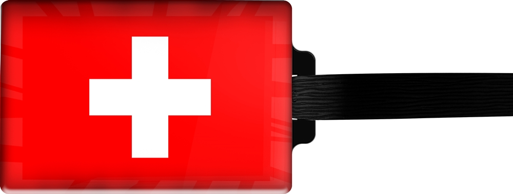 metALUm | Gepäckanhänger  verdecktes Adressfeld FLAGGE SCHWEIZ 3001007